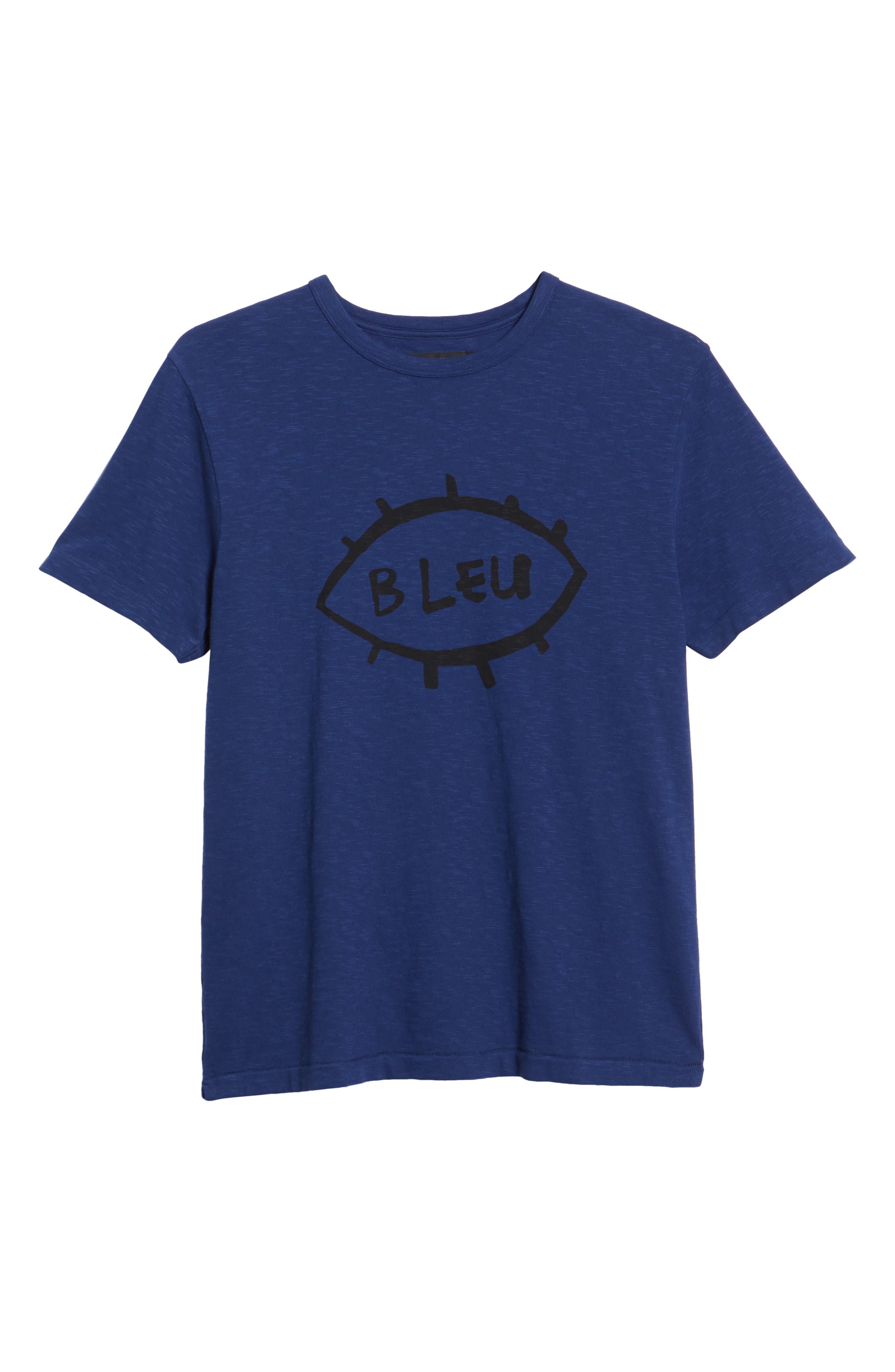Bleu Slubbed T-Shirt,                             Alternate thumbnail 6, color,                             FATHOM BLUE BLACK