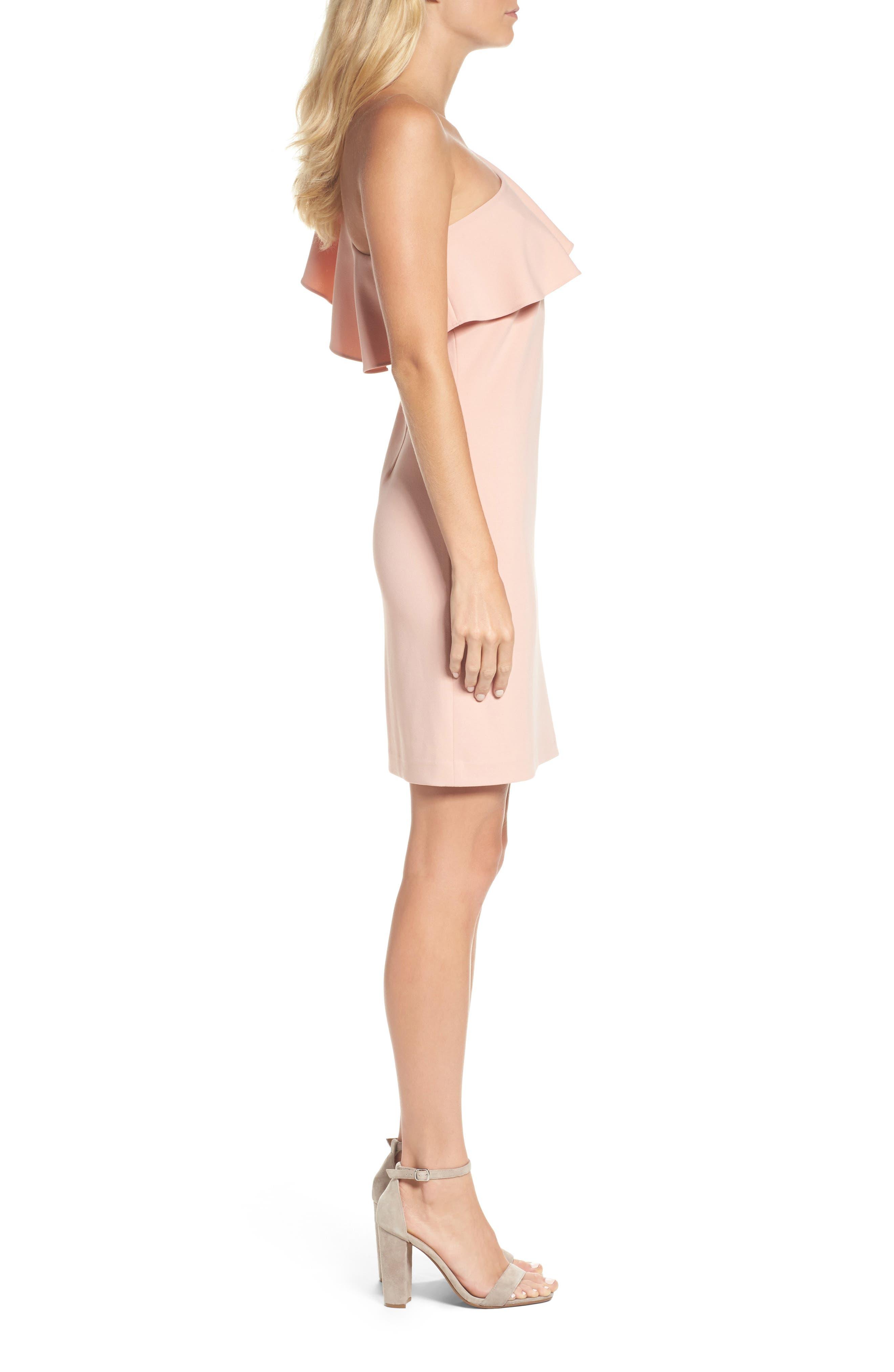 Ruffle One-Shoulder Shift Dress,                             Alternate thumbnail 3, color,                             650