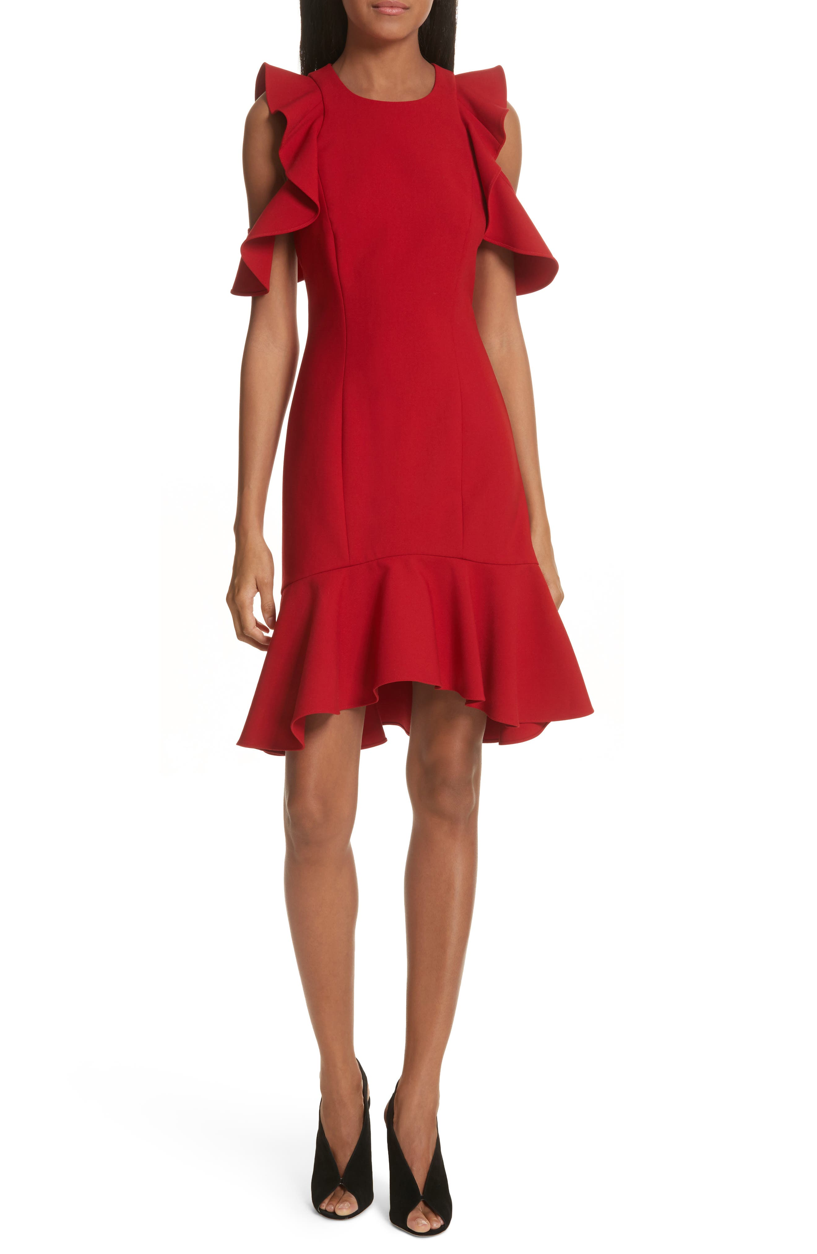 Micah Ruffle Cold Shoulder Dress,                             Main thumbnail 1, color,                             CARMINE