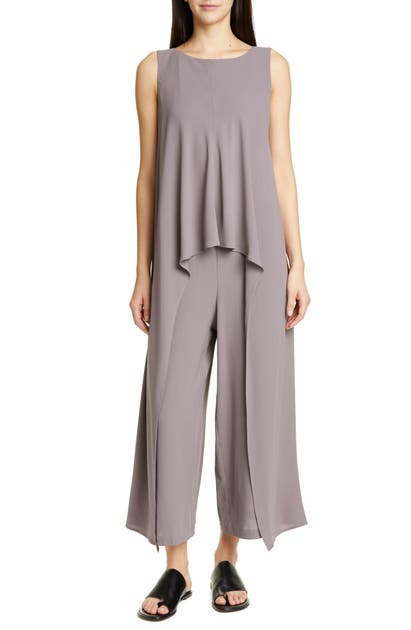 Eileen Fisher Suits LAYERED BATEAU NECK SILK JUMPSUIT