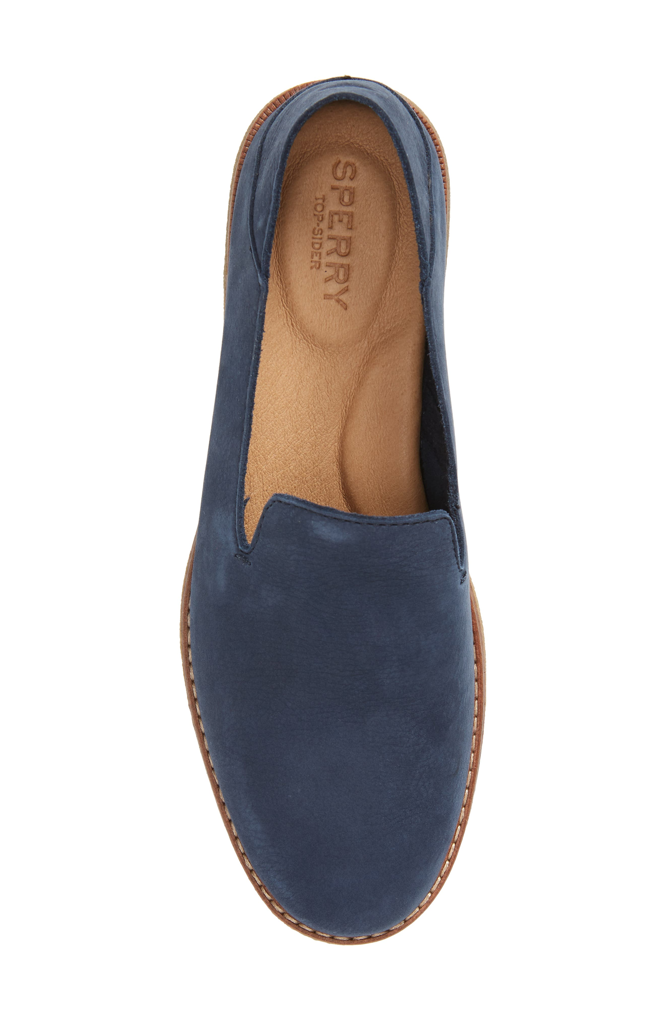 Seaport Levy Flat,                             Alternate thumbnail 5, color,                             NAVY LEATHER