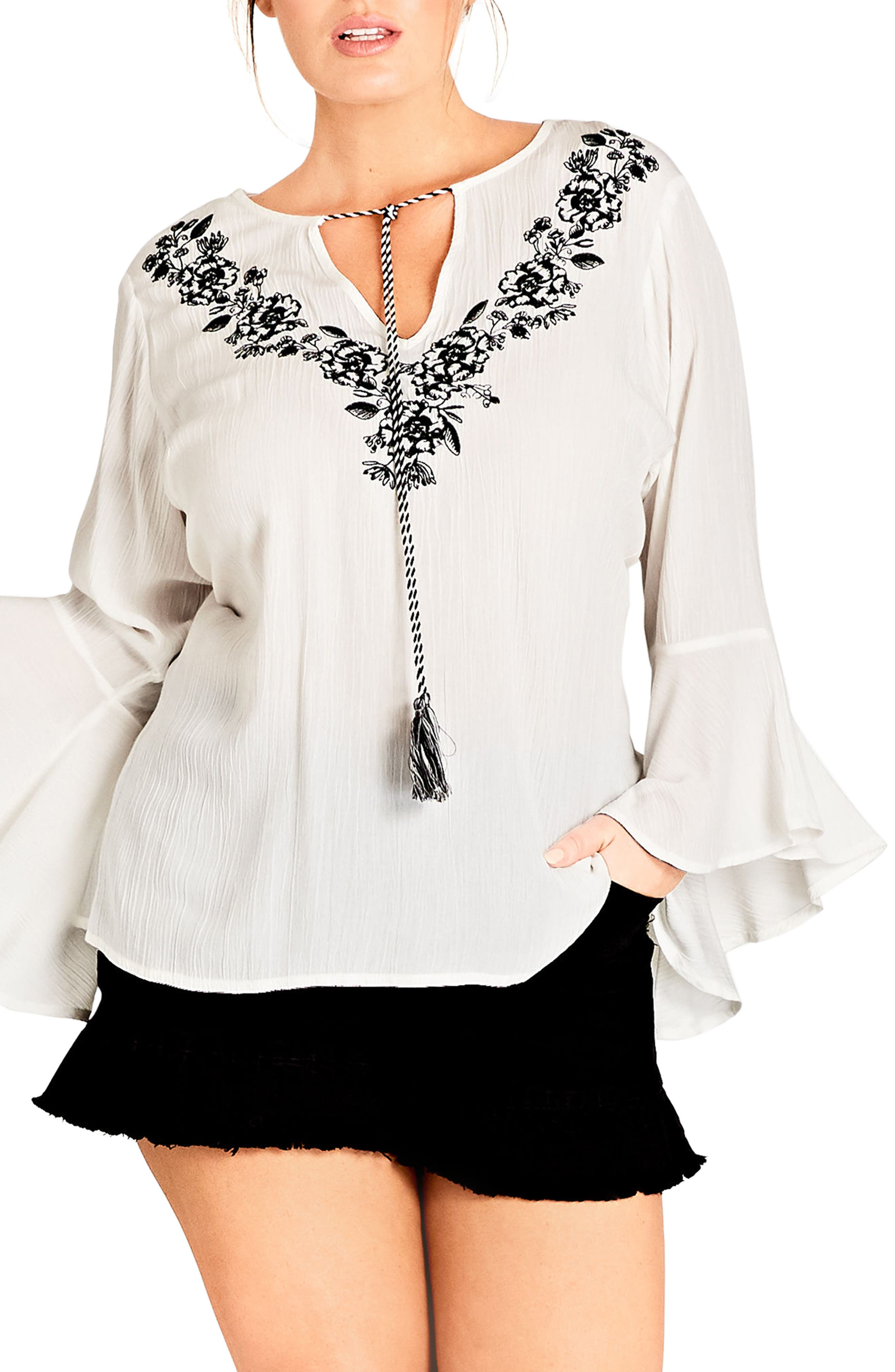 Lover Embroidered Tunic,                         Main,                         color, IVORY