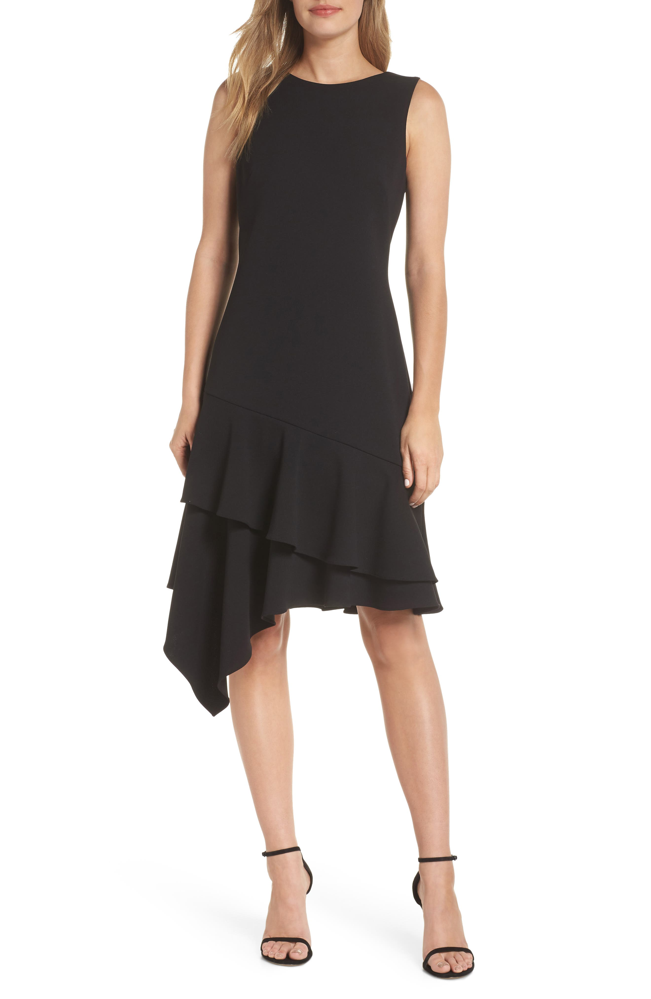 Vince Camuto Asymmetrical Ruffle Hem Cocktail Dress