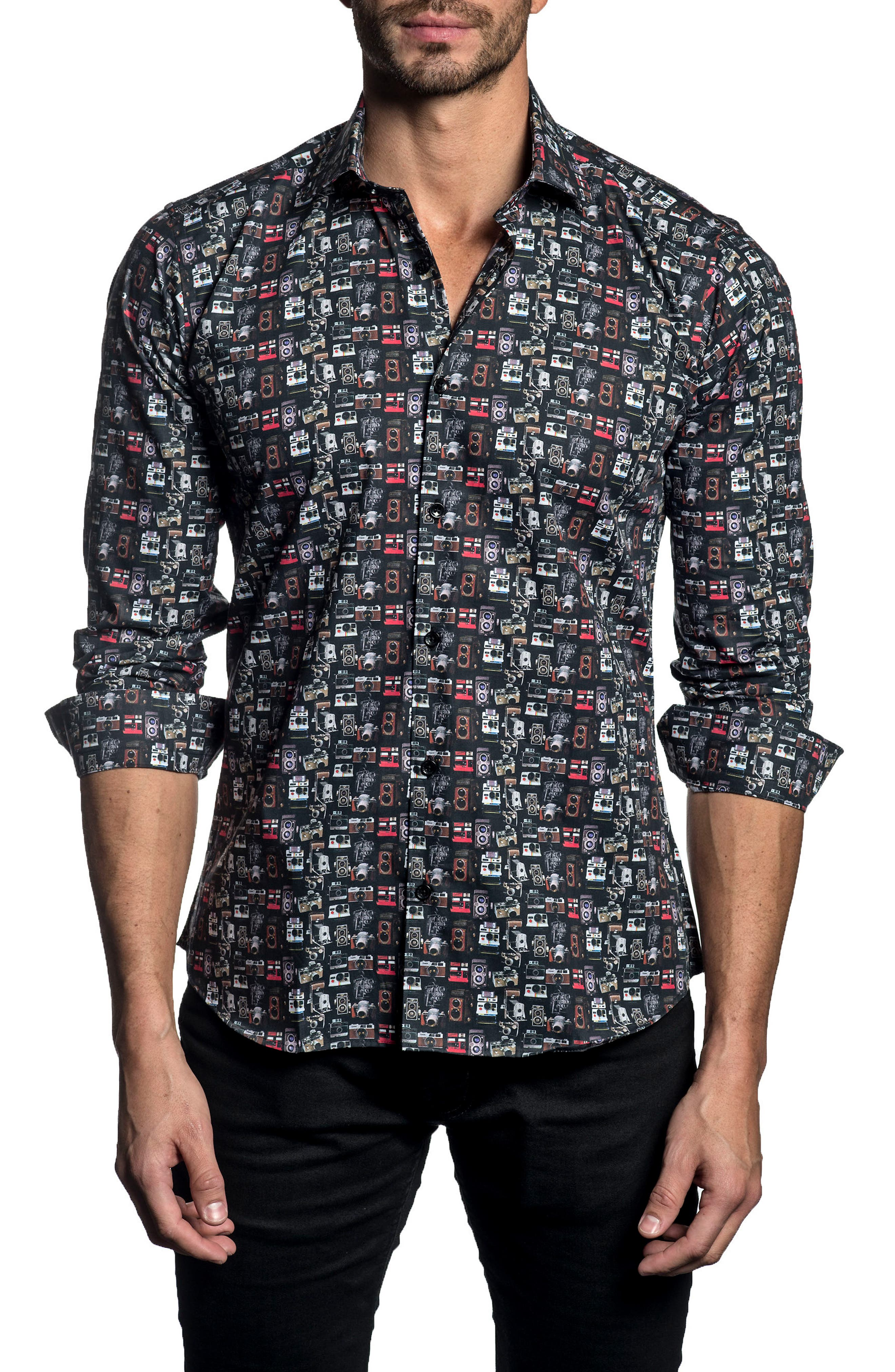 JARED LANG Trim Fit Print Sport Shirt, Main, color, 001