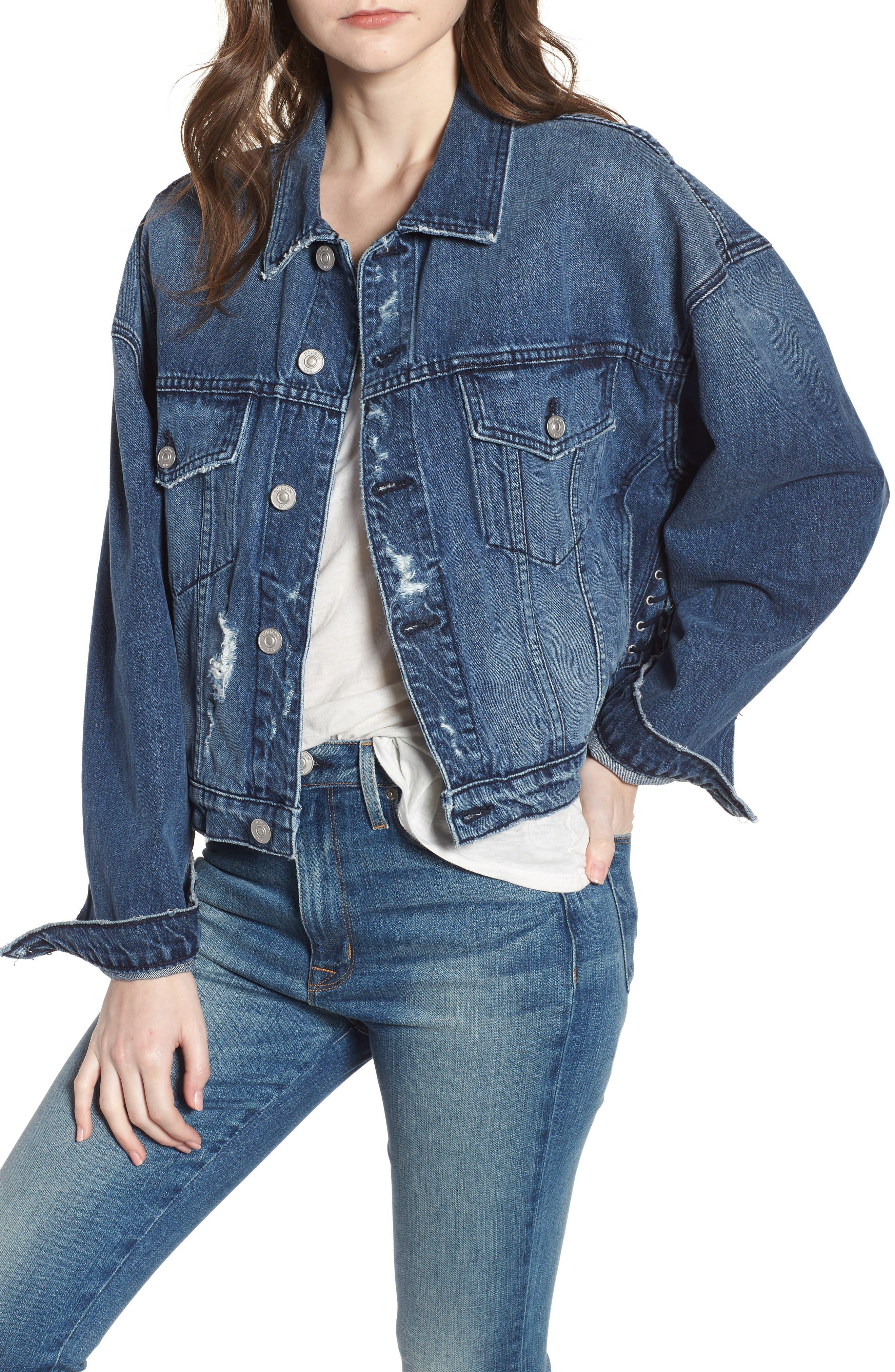 Rei Lace-Up Crop Denim Jacket,                         Main,                         color,