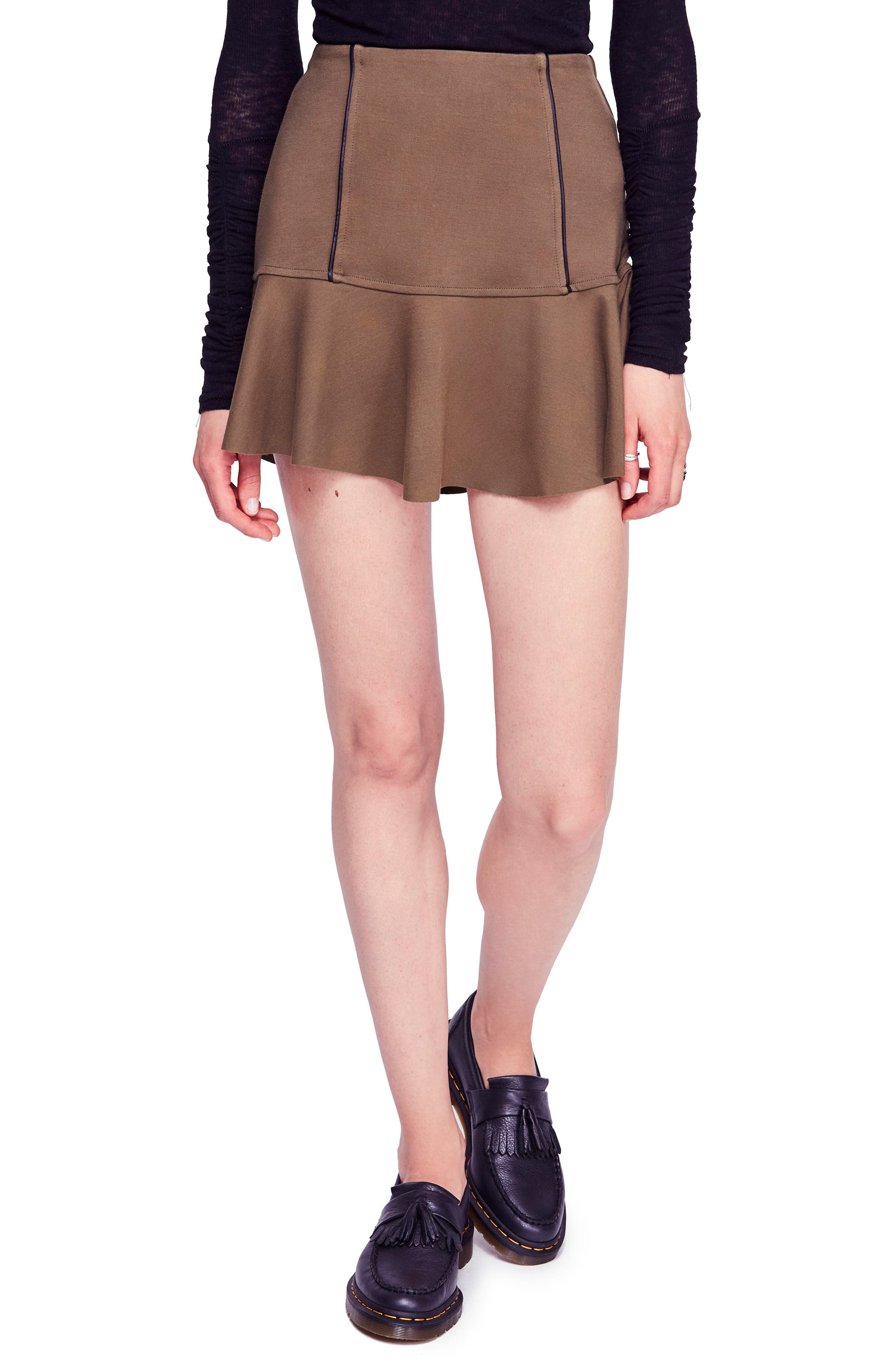 Free People Highlands Miniskirt, Brown