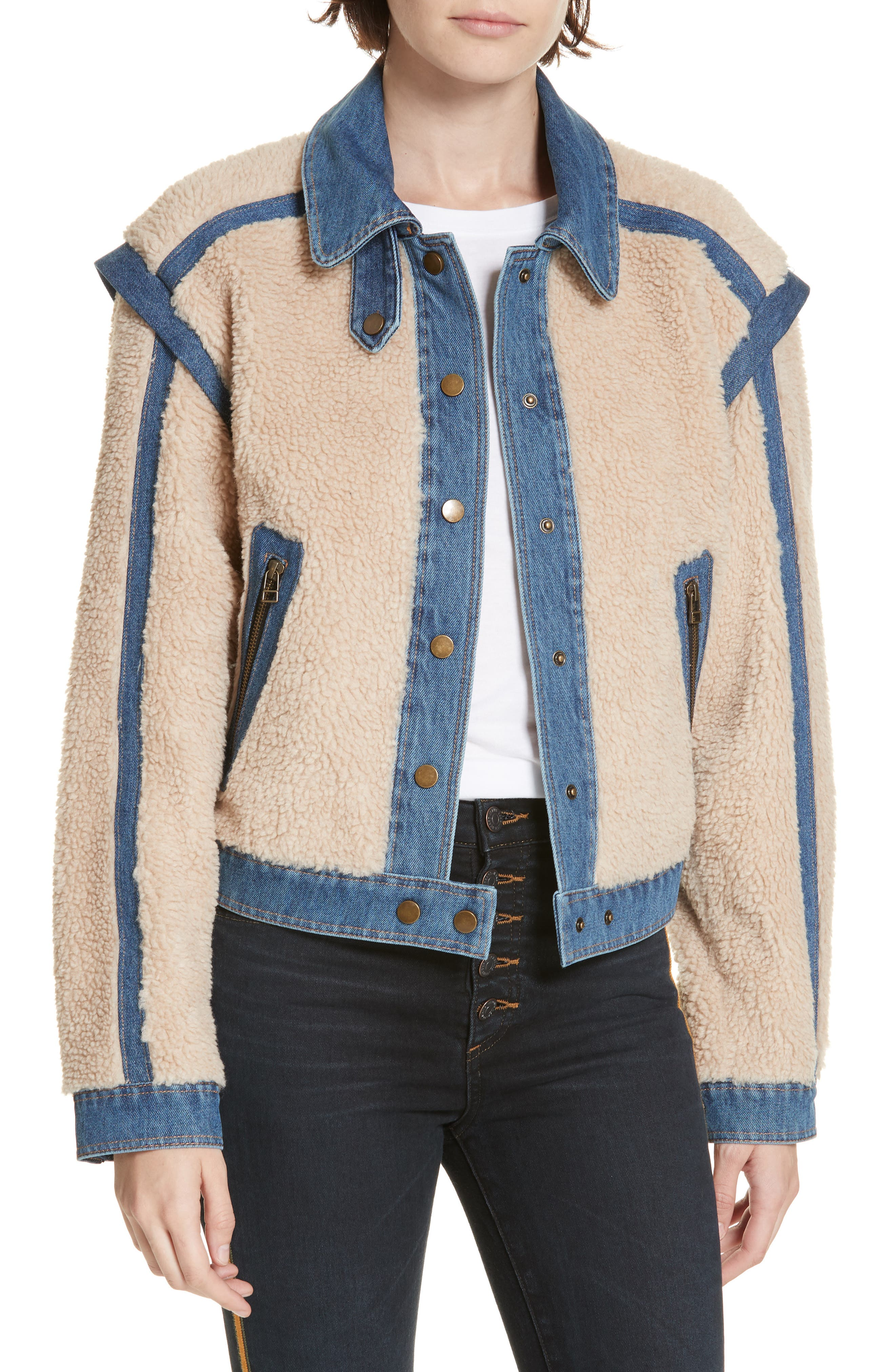 Potter Fleece & Denim Jacket,                             Main thumbnail 1, color,                             OATMEAL
