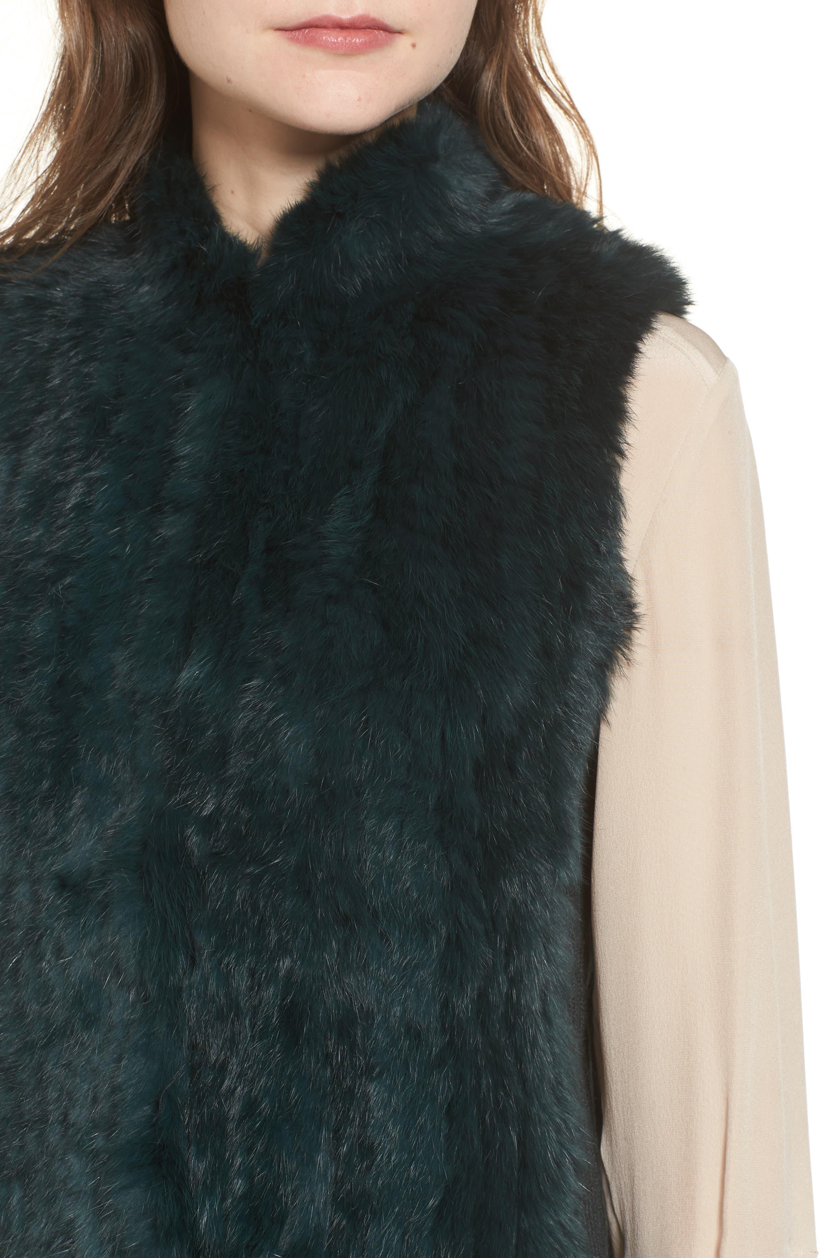 Genuine Rabbit Fur & Knit Vest,                             Alternate thumbnail 20, color,