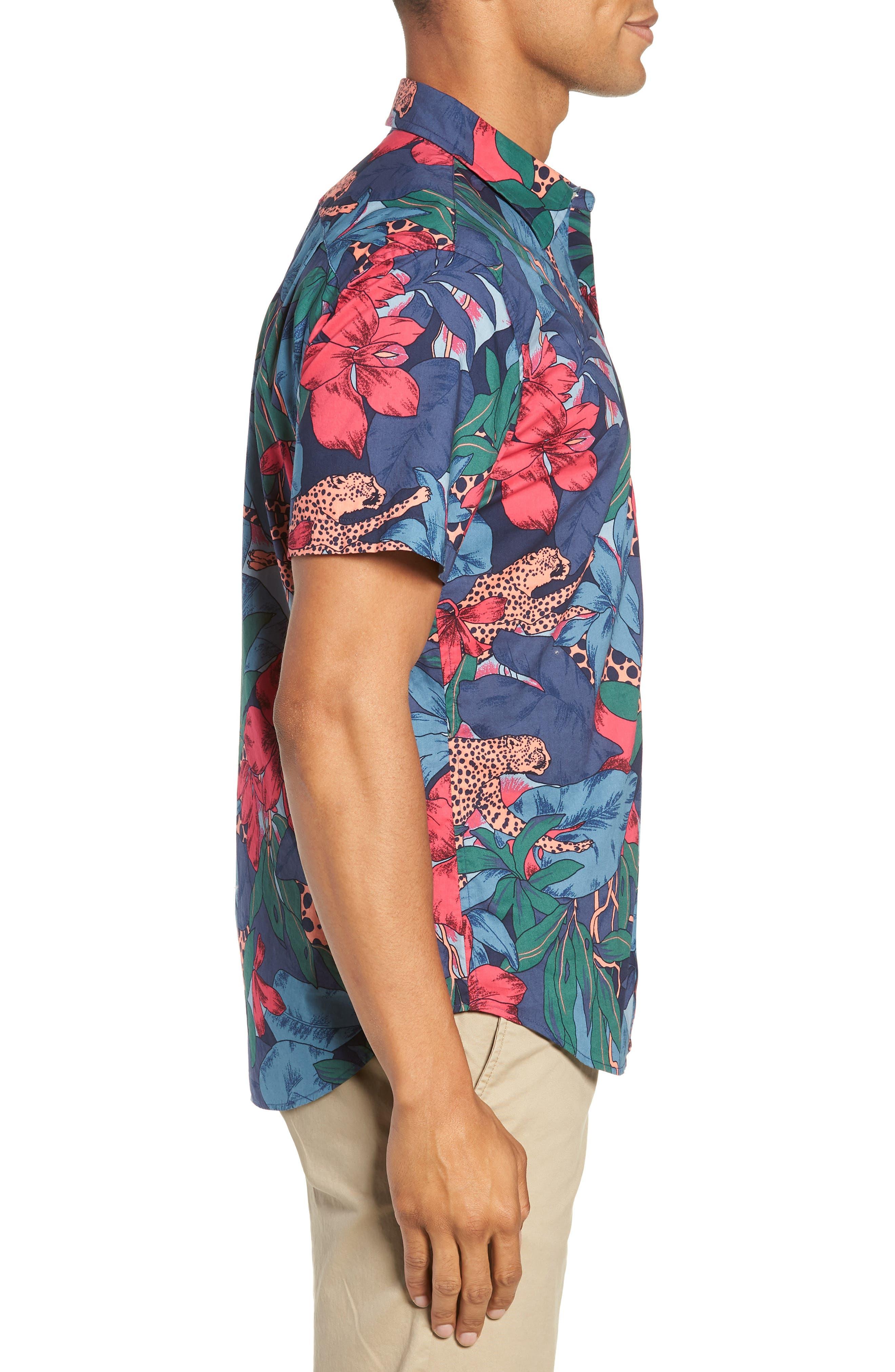 Riviera Slim Fit Leopard Floral Sport Shirt,                             Alternate thumbnail 4, color,                             WILD CATS - PEACH TWIG