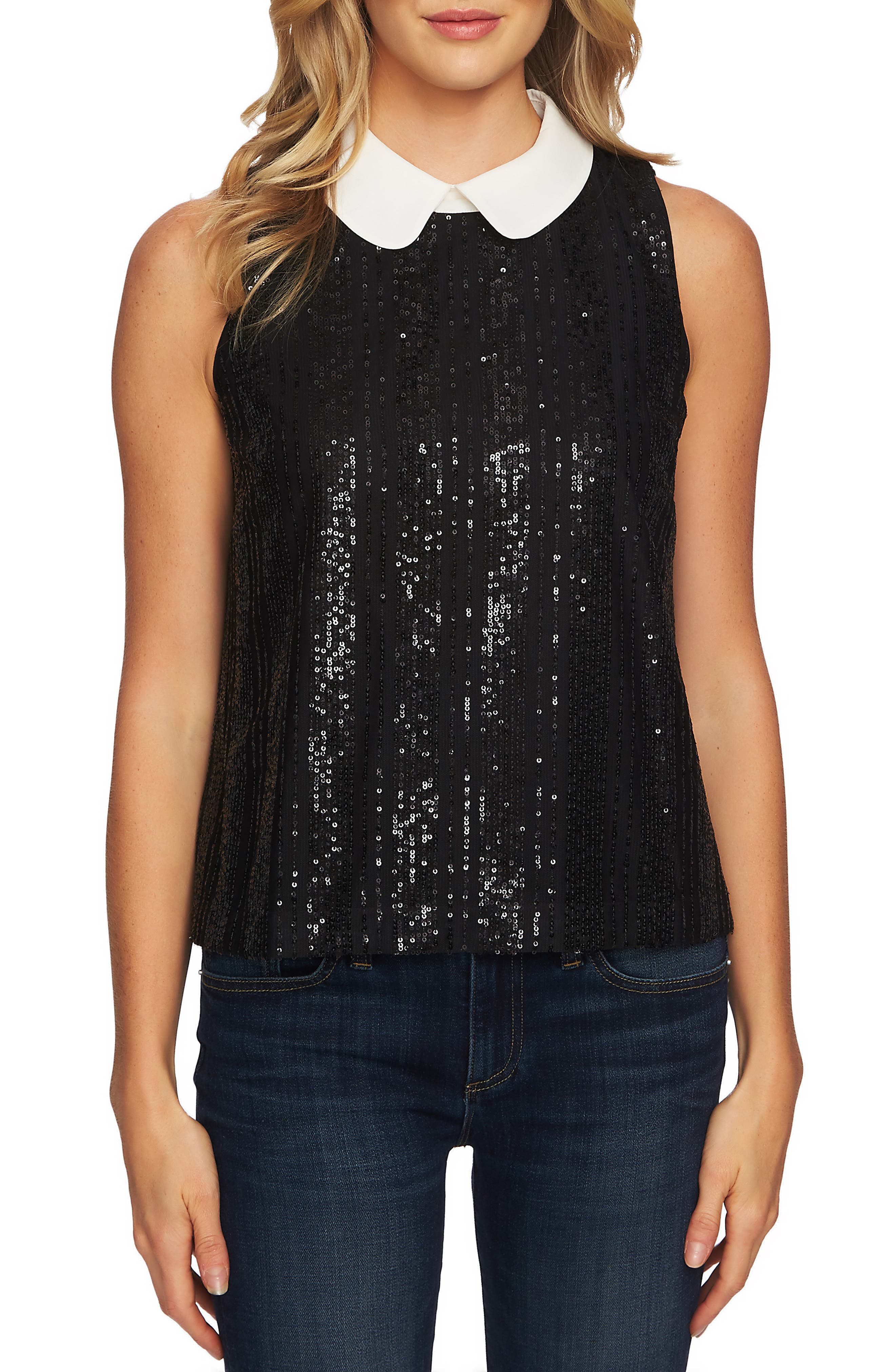 Sequin Sleeveless Blouse,                         Main,                         color, RICH BLACK