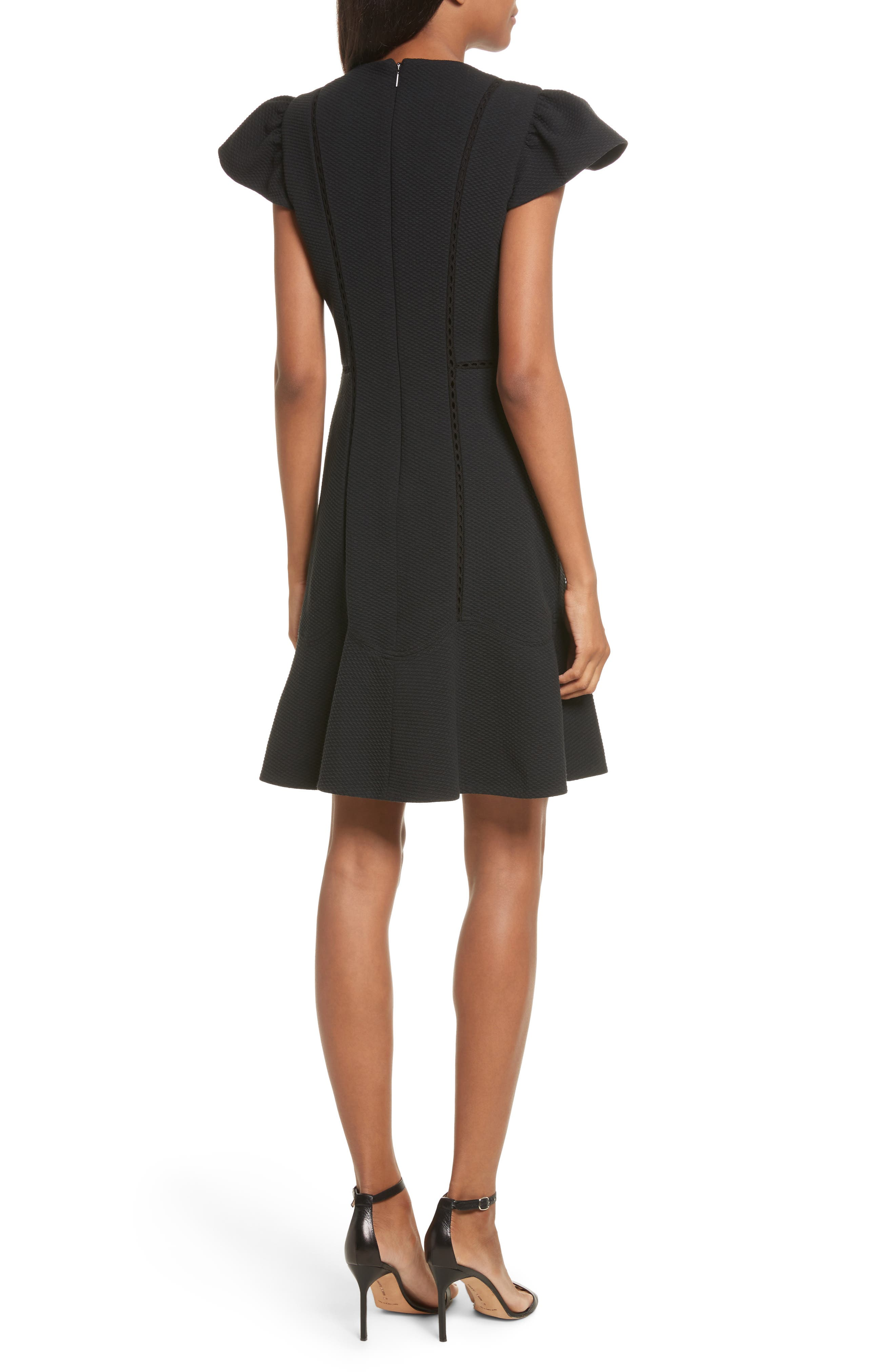 Textured Stretch Fit & Flare Dress,                             Alternate thumbnail 2, color,