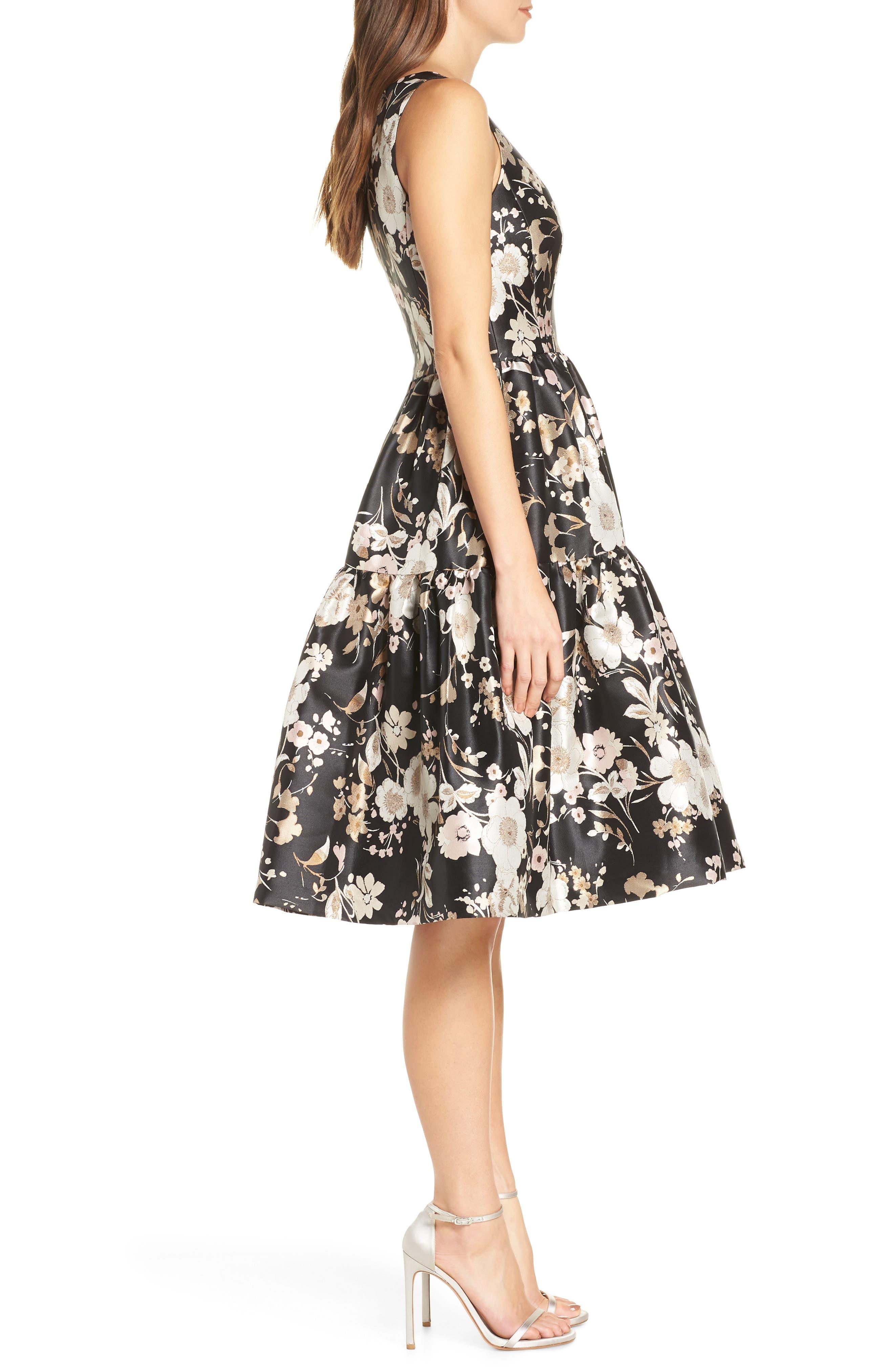 ELIZA J,                             Floral Jacquard Fit & Flare Dress,                             Alternate thumbnail 4, color,                             BLACK WHITE