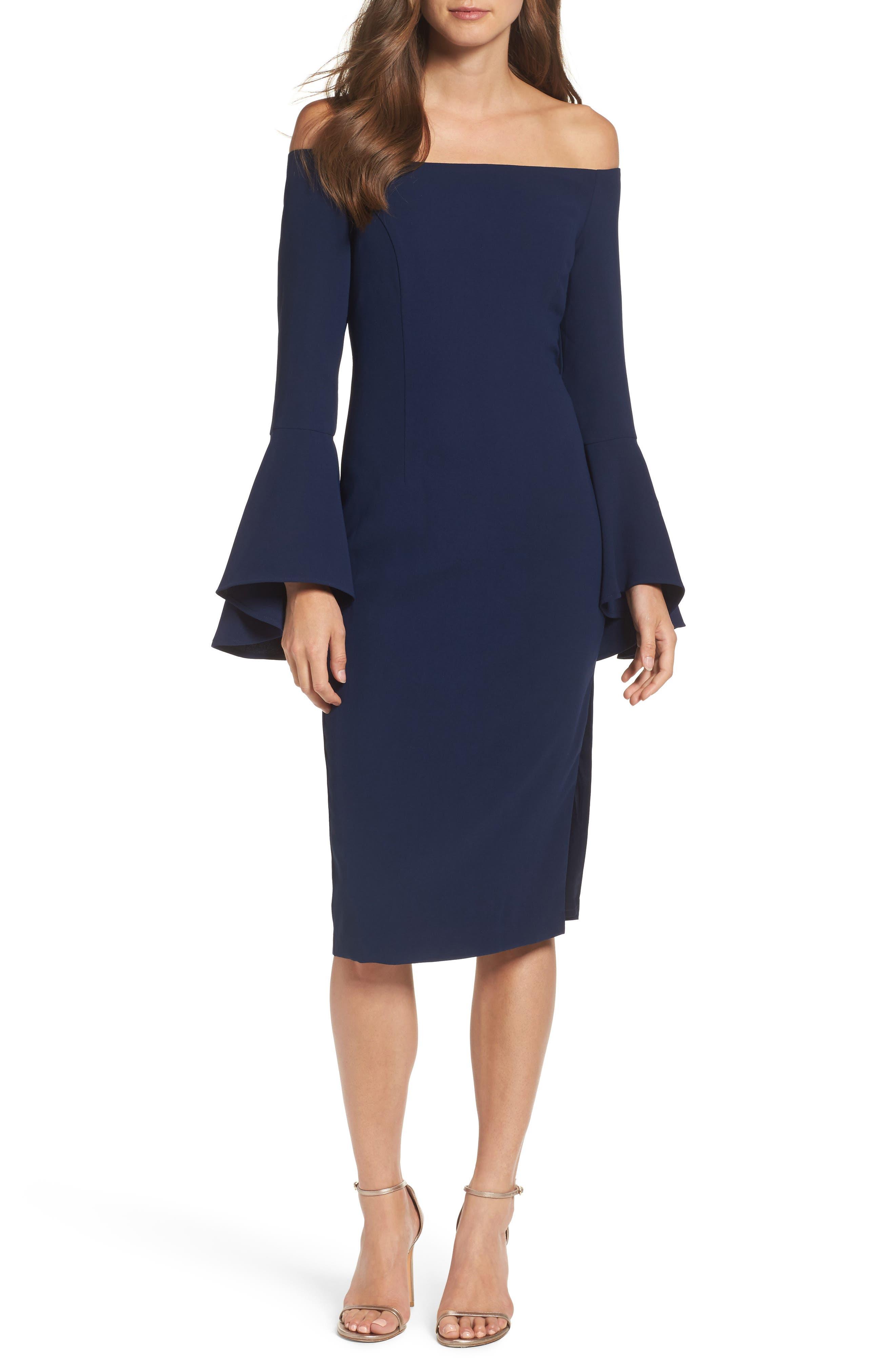 'Solange' Off the Shoulder Midi Dress,                             Main thumbnail 3, color,