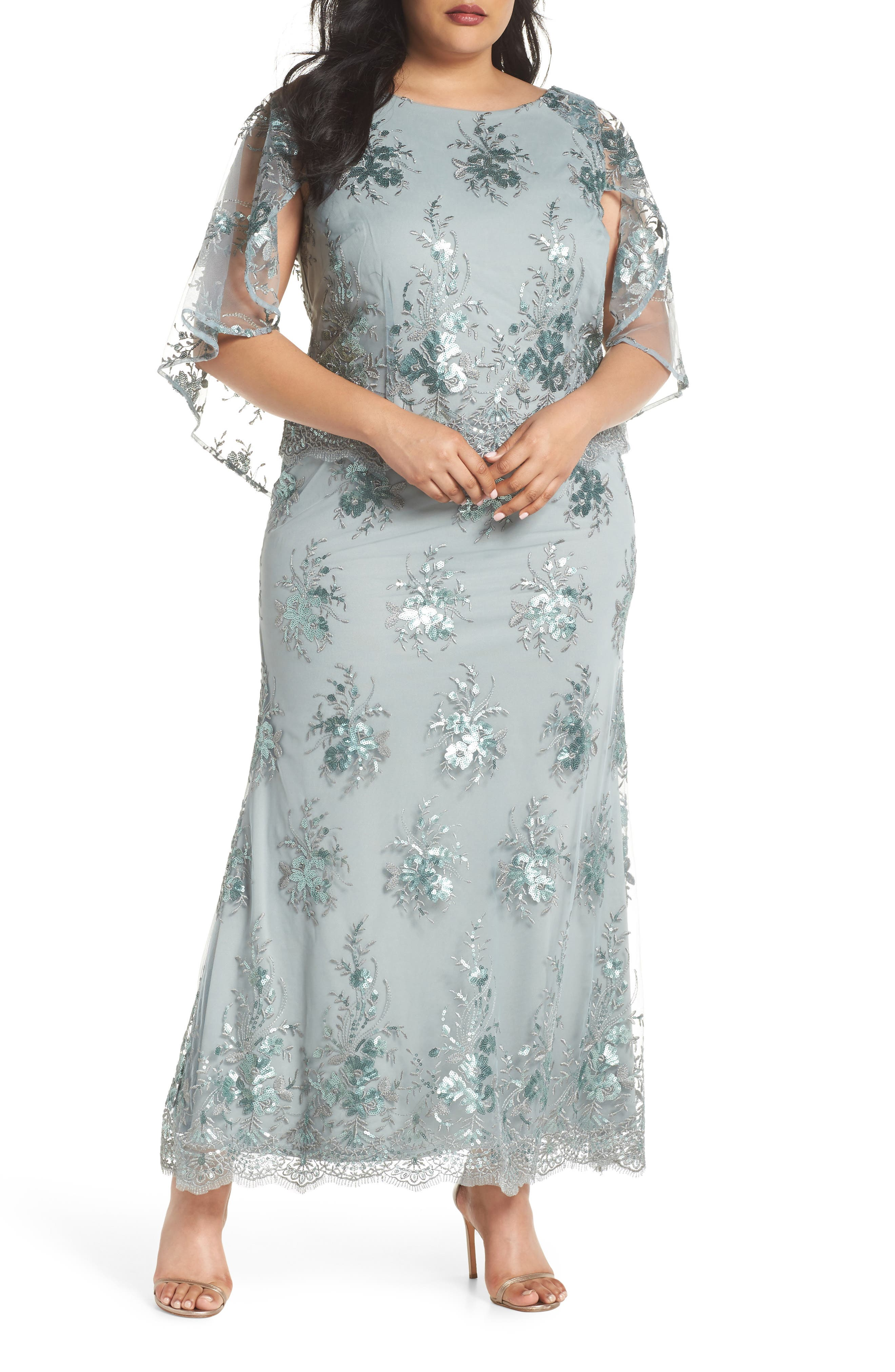 Embellished Capelet Mesh Gown,                             Main thumbnail 1, color,                             SEAFOAM