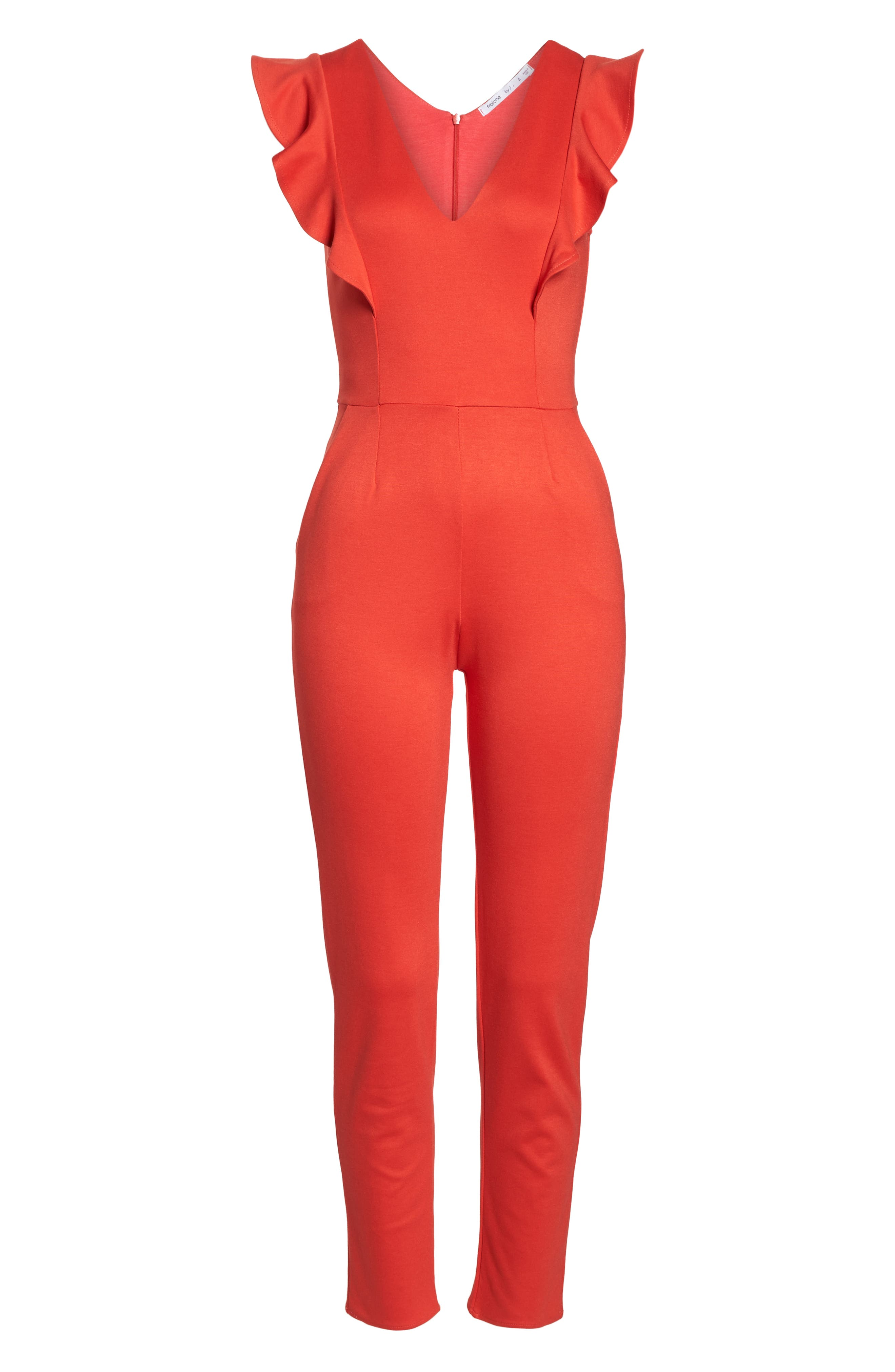 FRAICHE BY J,                             V-Neck Ruffle Jumpsuit,                             Alternate thumbnail 7, color,                             RED