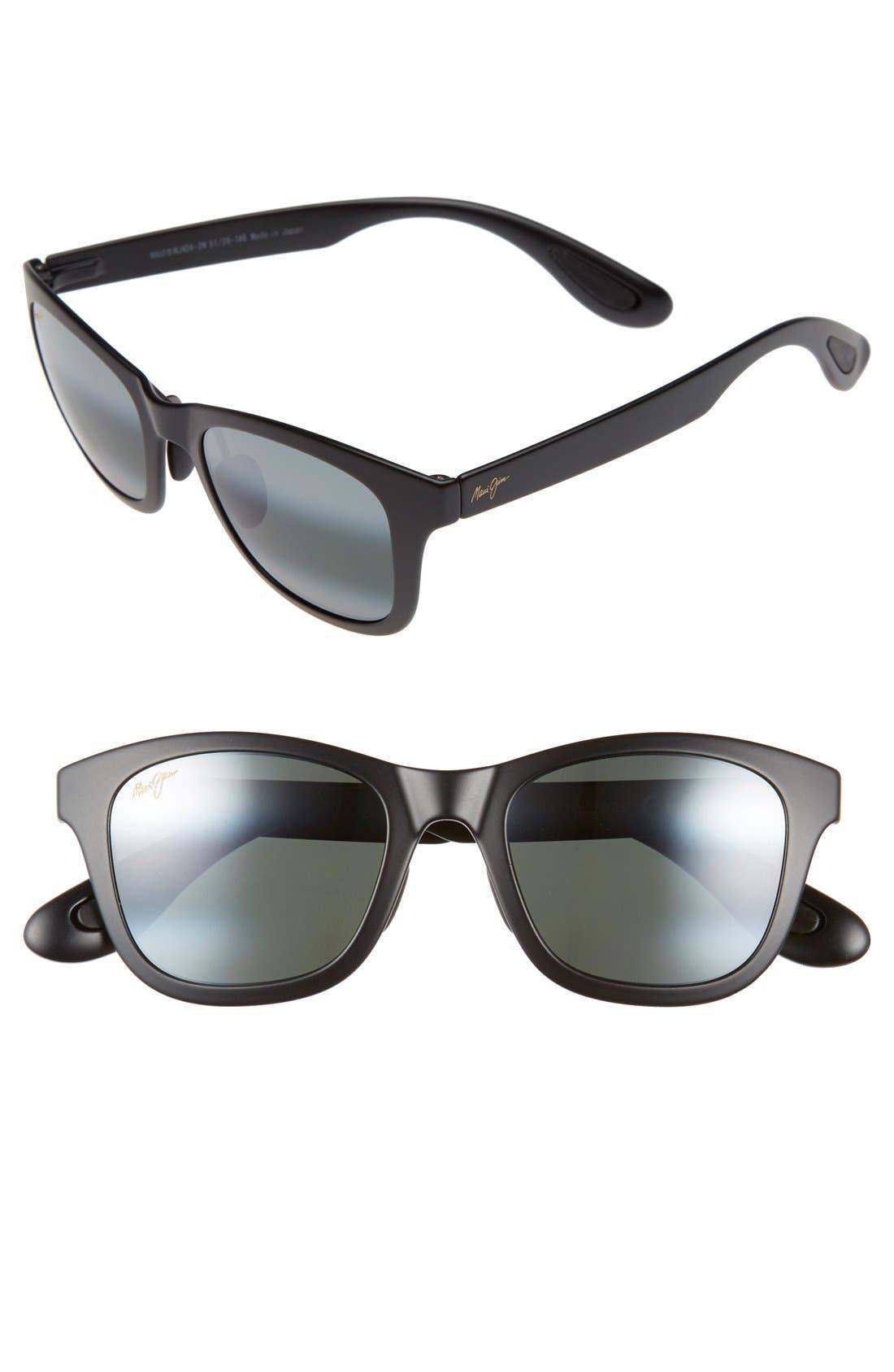 Hana Bay 51mm PolarizedPlus2<sup>®</sup> Sunglasses,                             Main thumbnail 1, color,                             MATTE BLACK/ NEUTRAL GREY