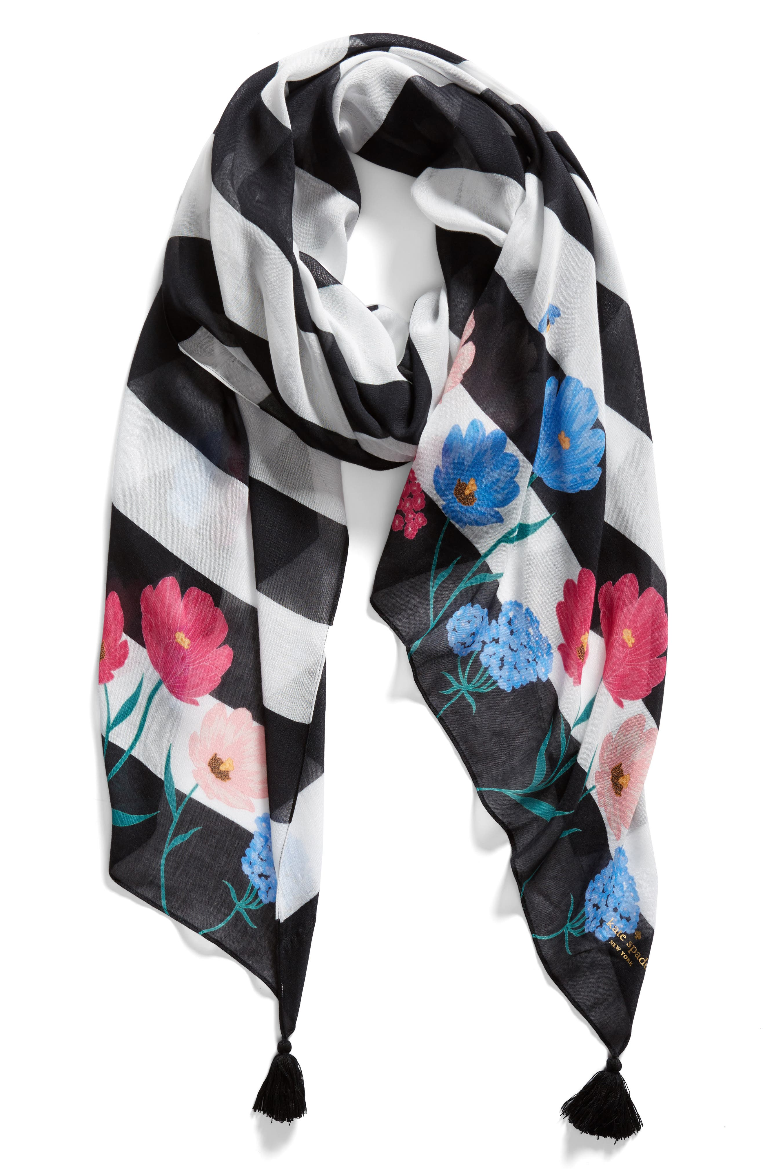 blossom stripe scarf,                             Alternate thumbnail 2, color,                             001