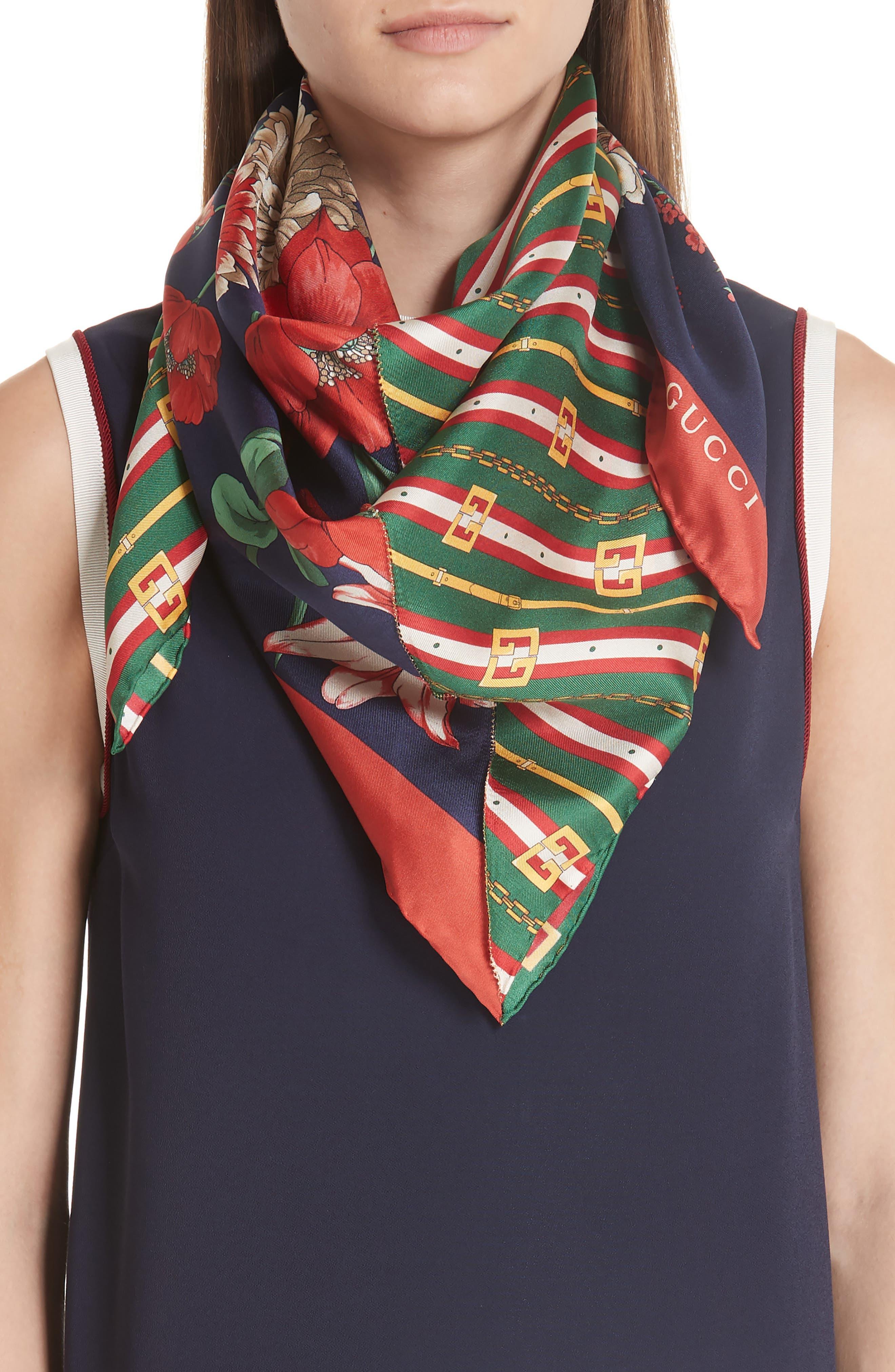 Bouquet Chain Silk Twill Scarf,                             Alternate thumbnail 2, color,                             NAVY/ DARK GREEN