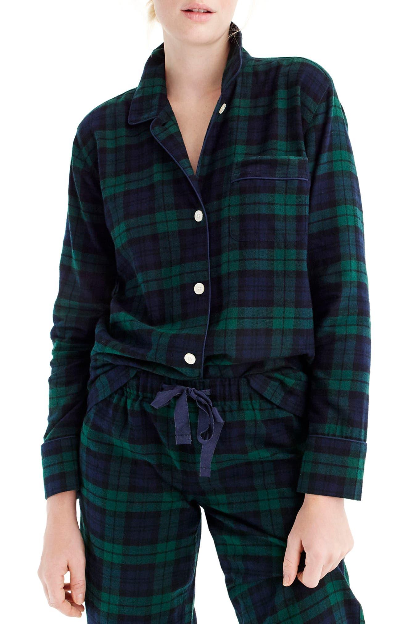 J.CREW,                             Blackwatch Flannel Pajamas,                             Alternate thumbnail 2, color,                             001