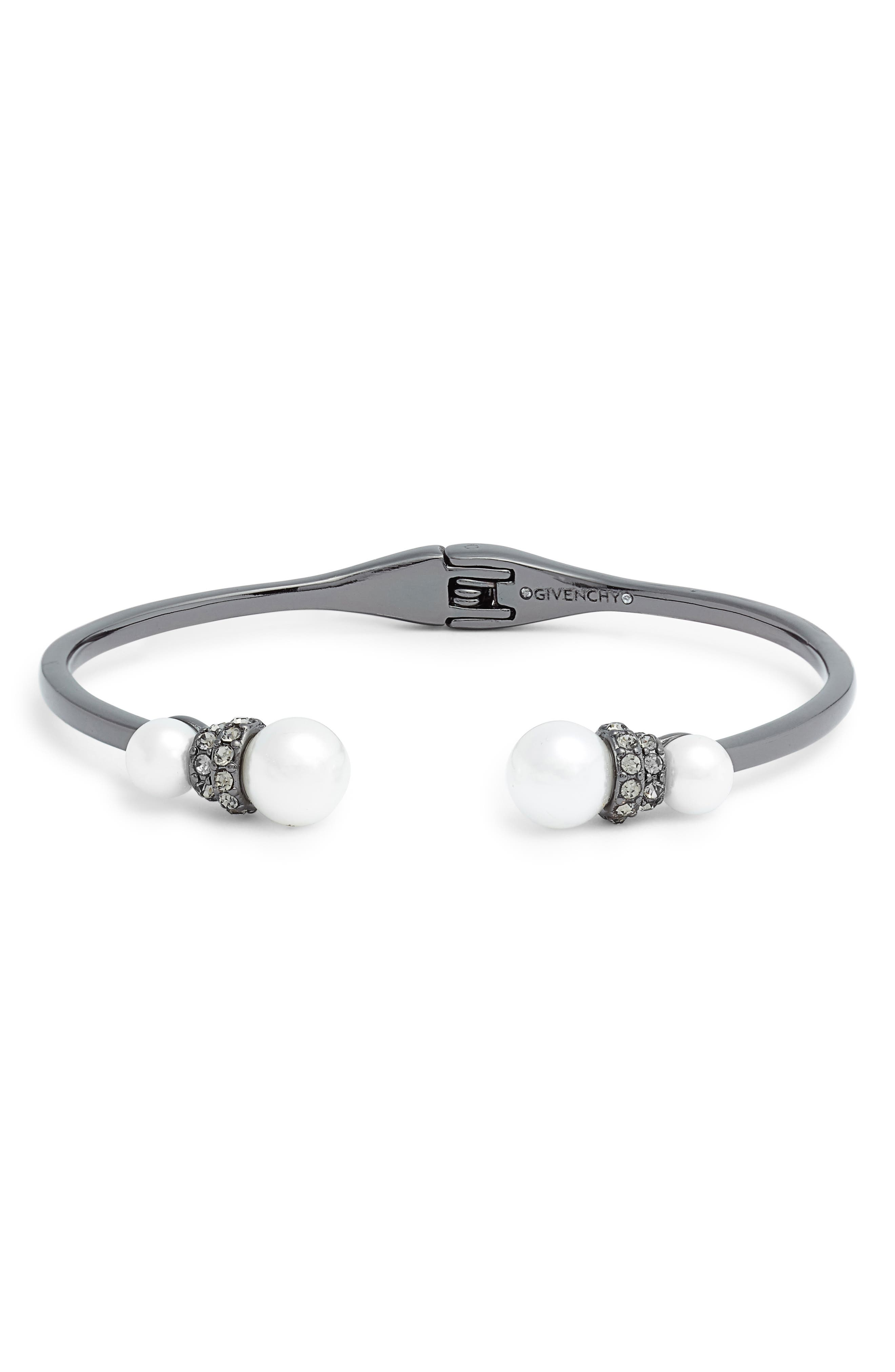 Open Cuff Bracelet,                             Main thumbnail 1, color,                             WHITE/ HEMATITE