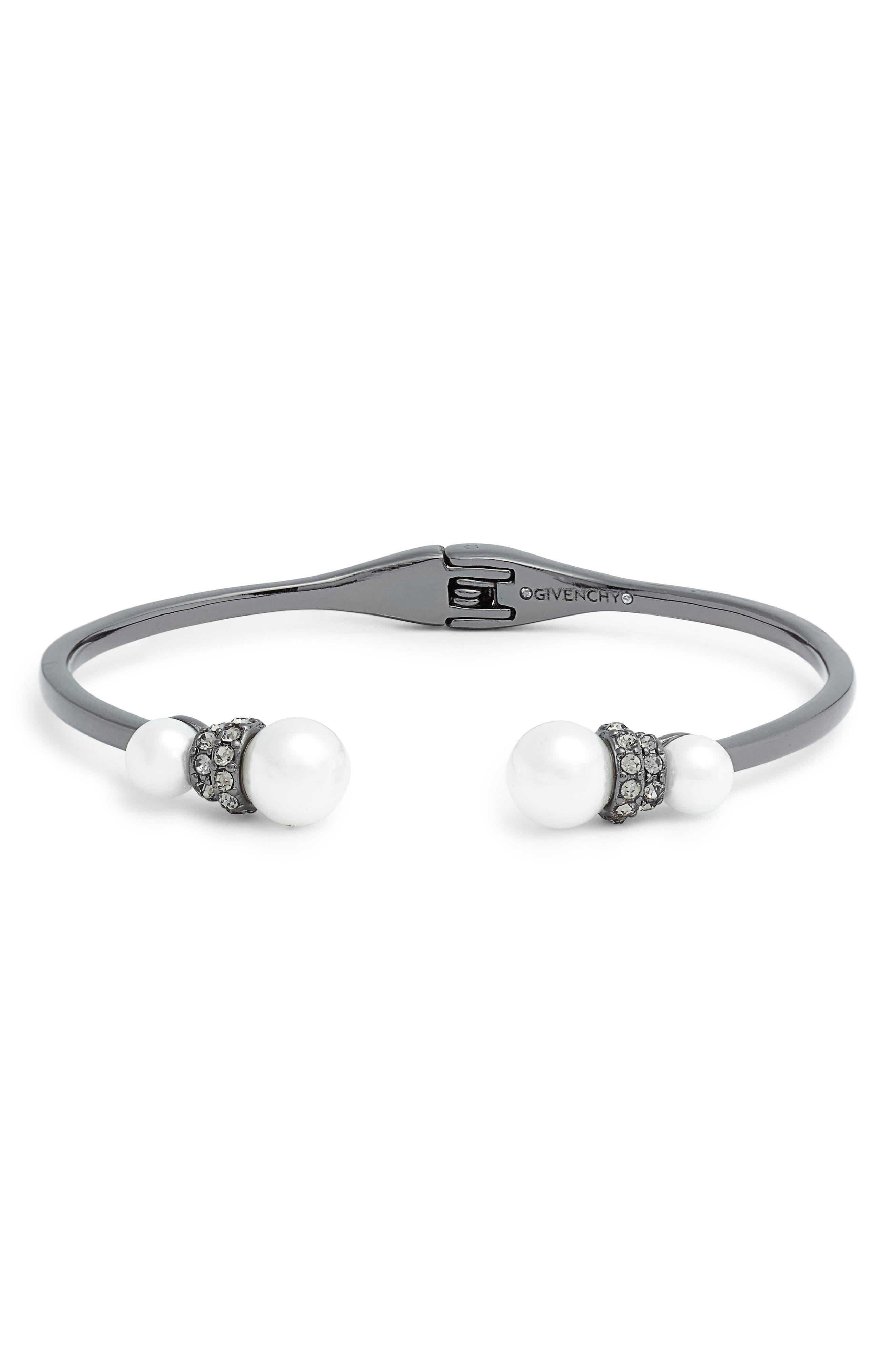 Open Cuff Bracelet,                         Main,                         color, WHITE/ HEMATITE