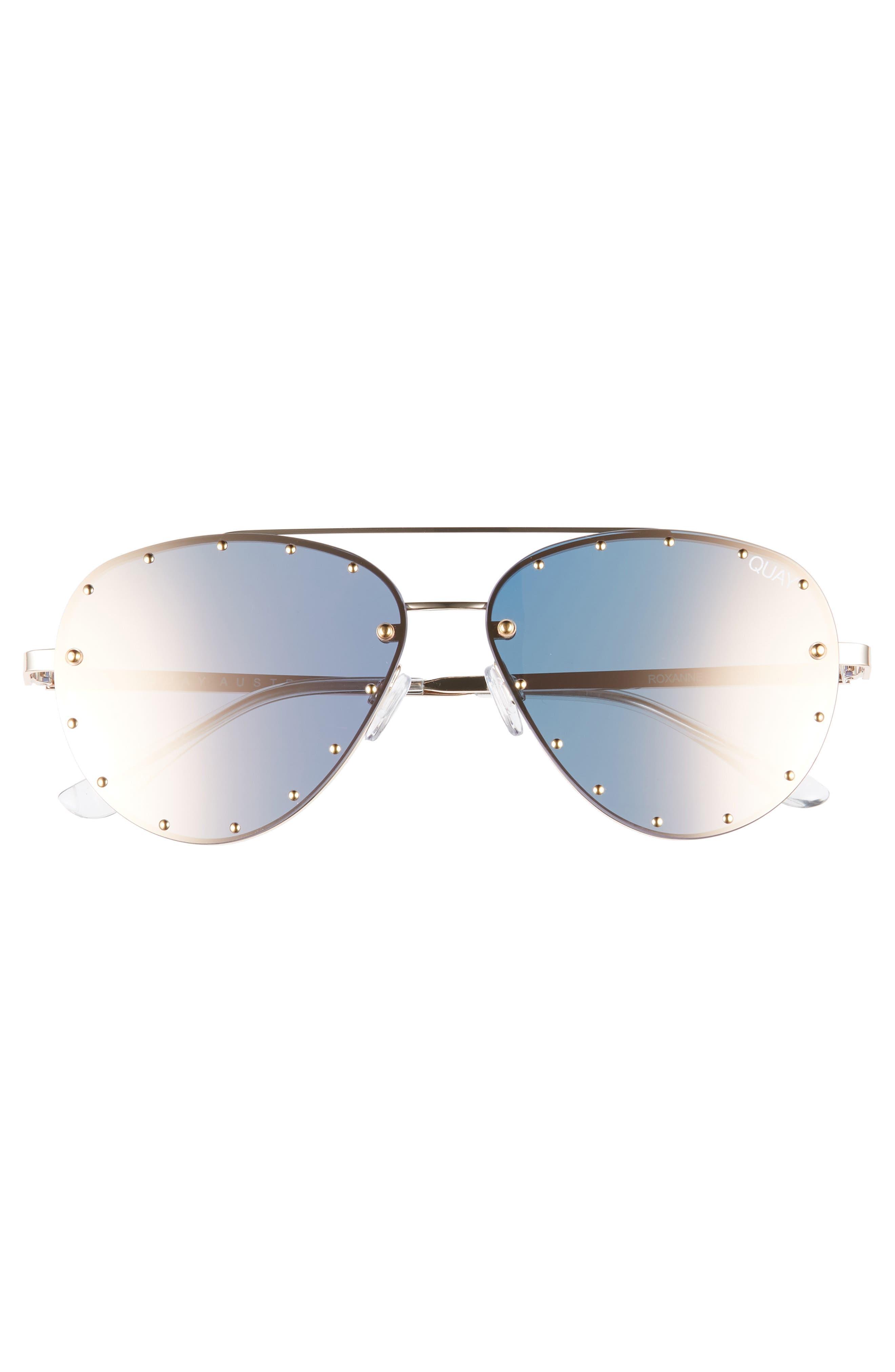 x Jaclyn Hill Roxanne 62mm Stud Aviator Sunglasses,                             Alternate thumbnail 5, color,                             GOLD / ROSE