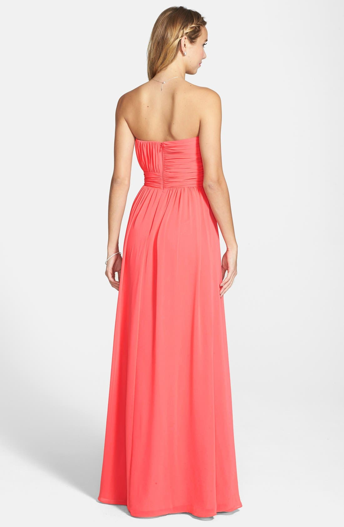 HAILEY BY ADRIANNA PAPELL,                             Shirred Chiffon Strapless Gown,                             Alternate thumbnail 2, color,                             650