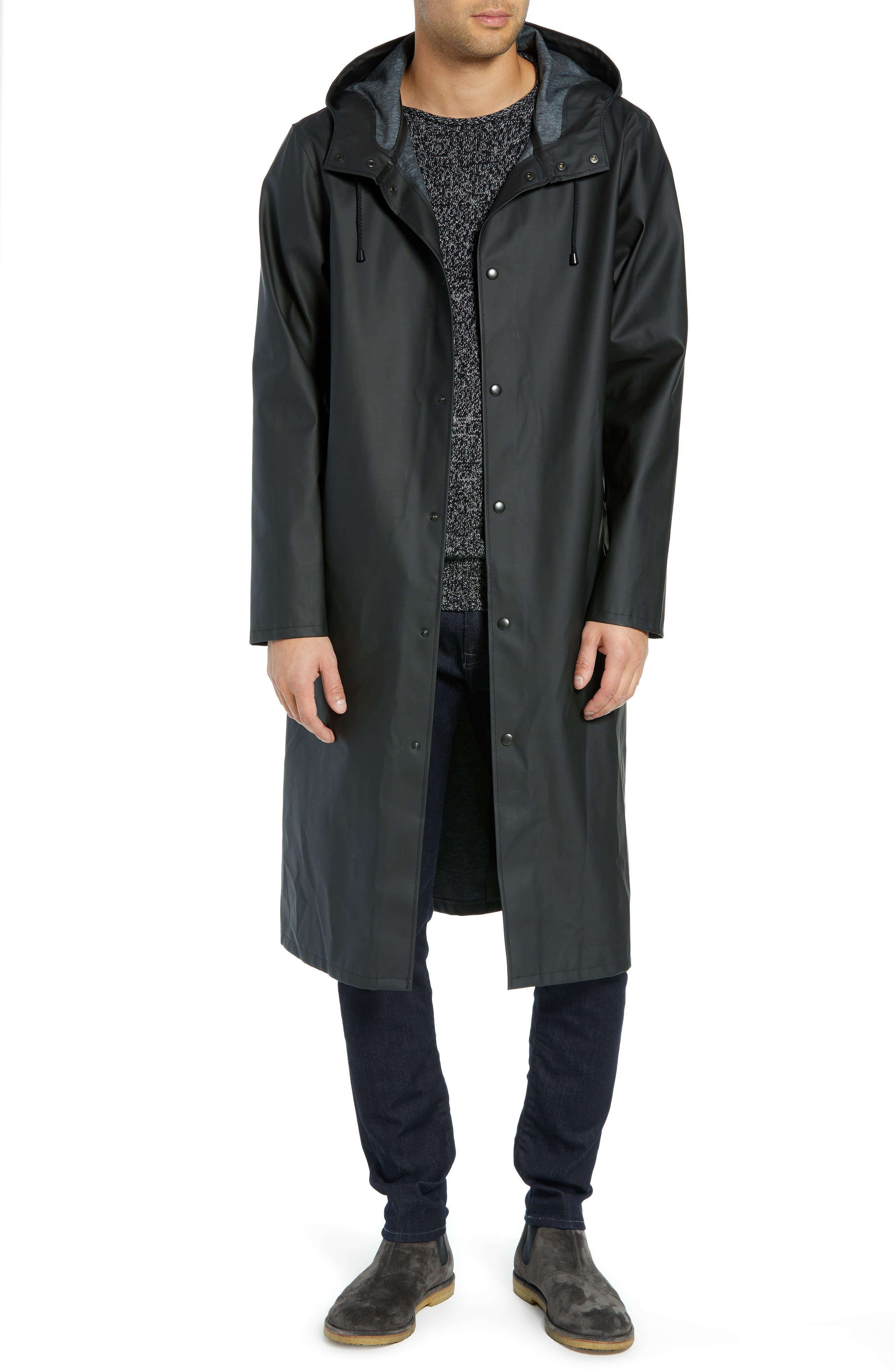 Long Logo Print Waterproof Raincoat,                         Main,                         color, BLACK