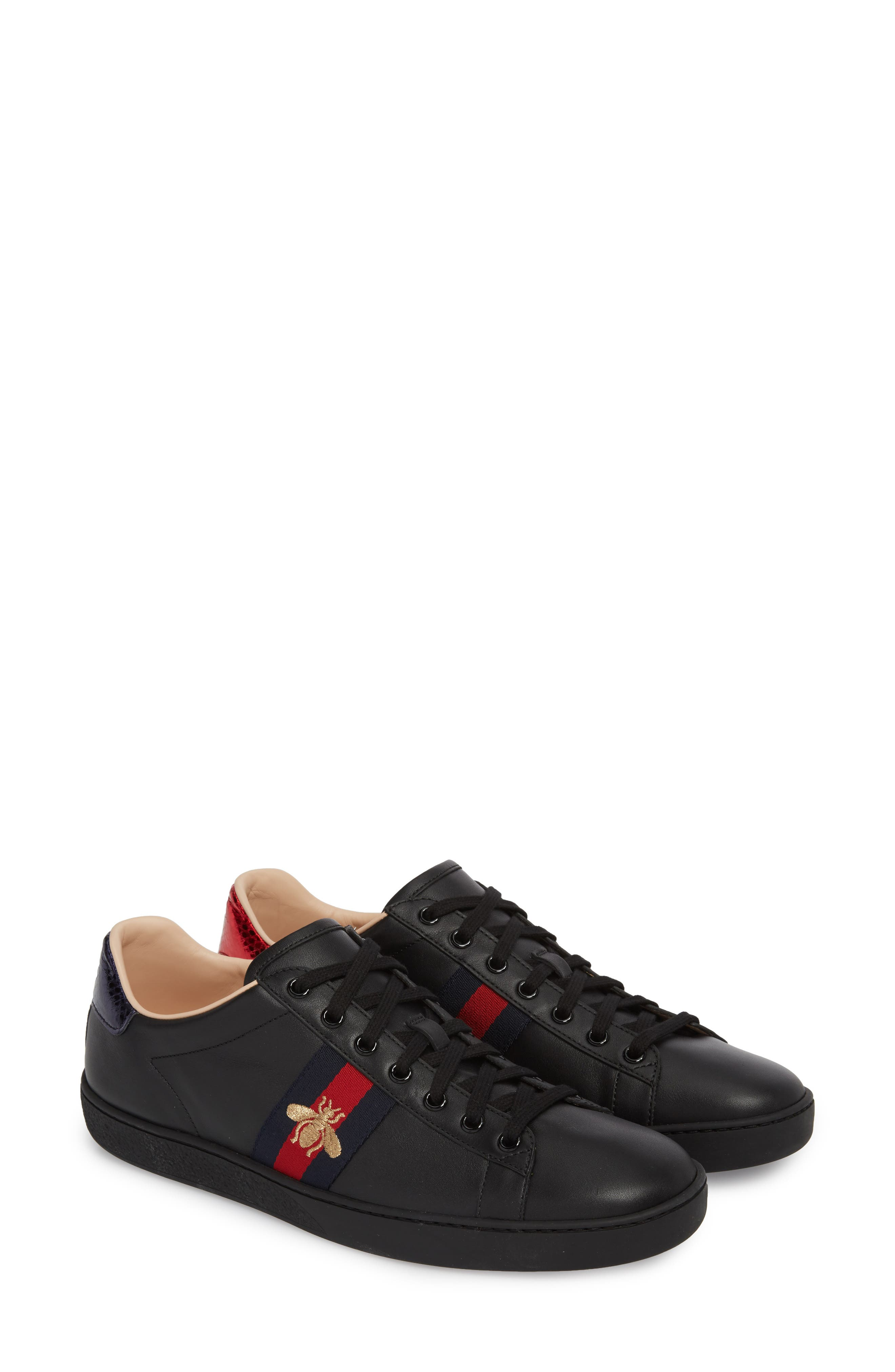 New Ace Sneaker,                         Main,                         color, BLACK LEATHER