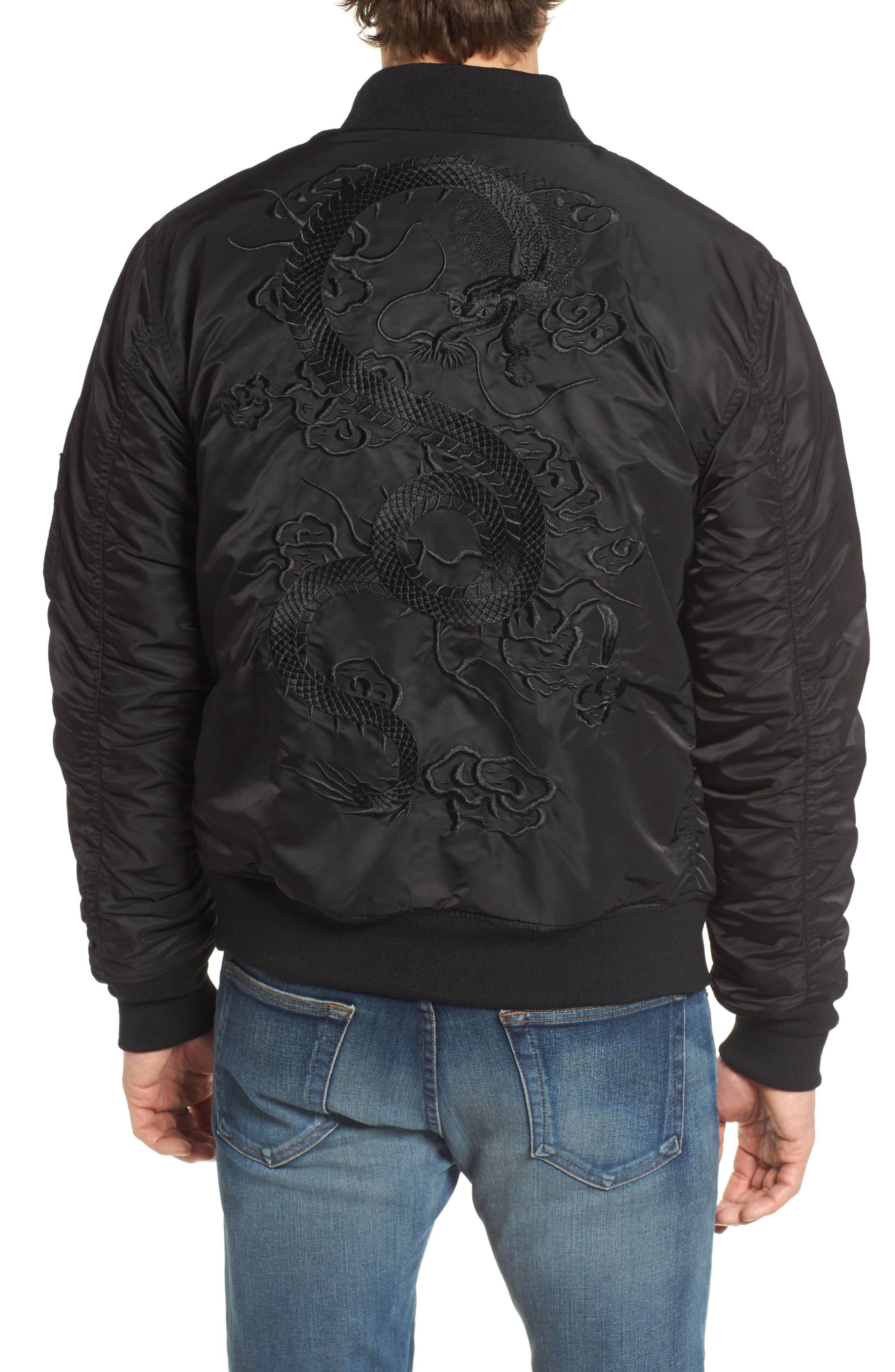 Dragon Embroidered Nylon Flight Jacket,                             Alternate thumbnail 2, color,                             001