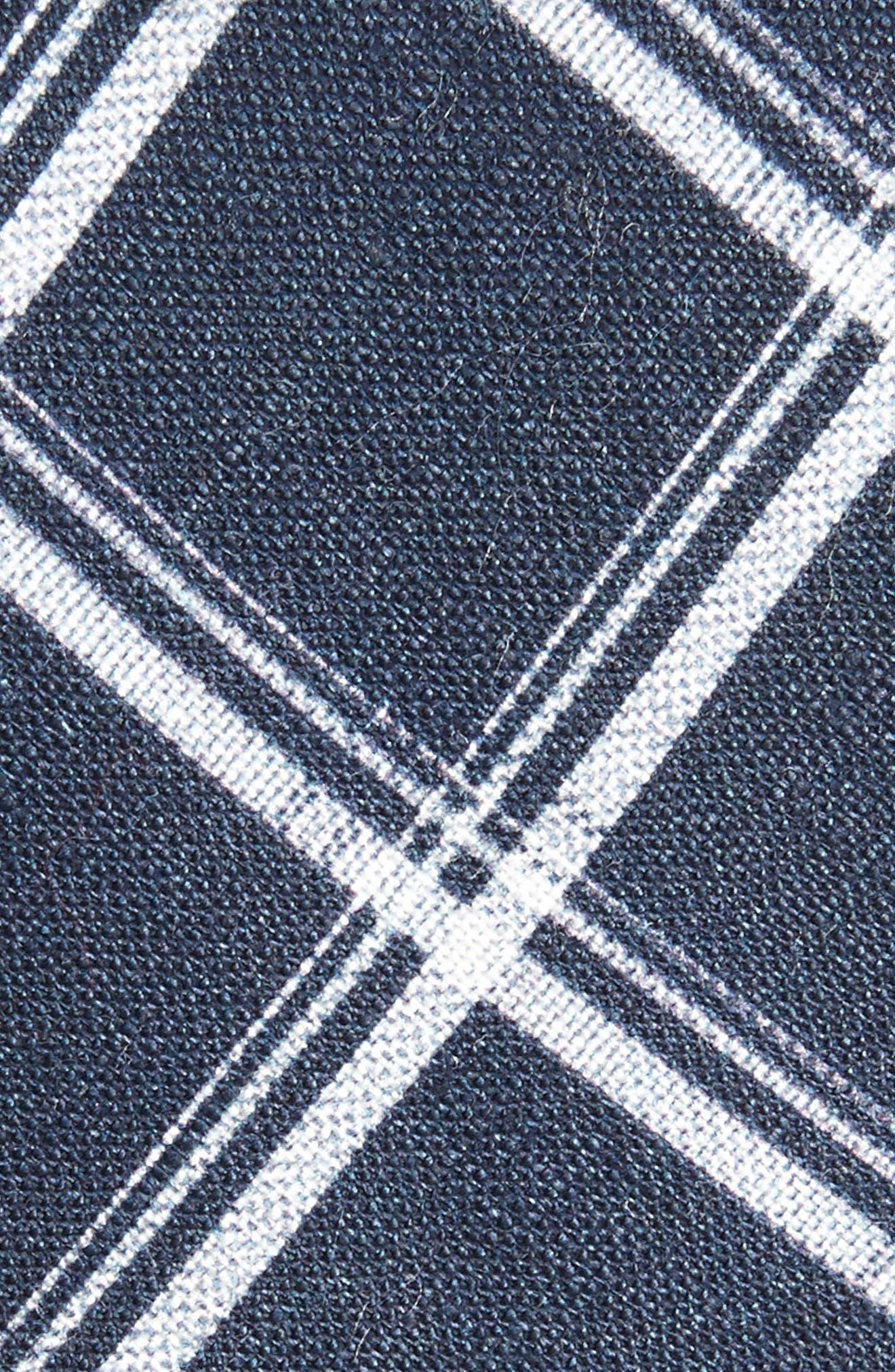 Jet Plaid Linen Skinny Tie,                             Alternate thumbnail 4, color,