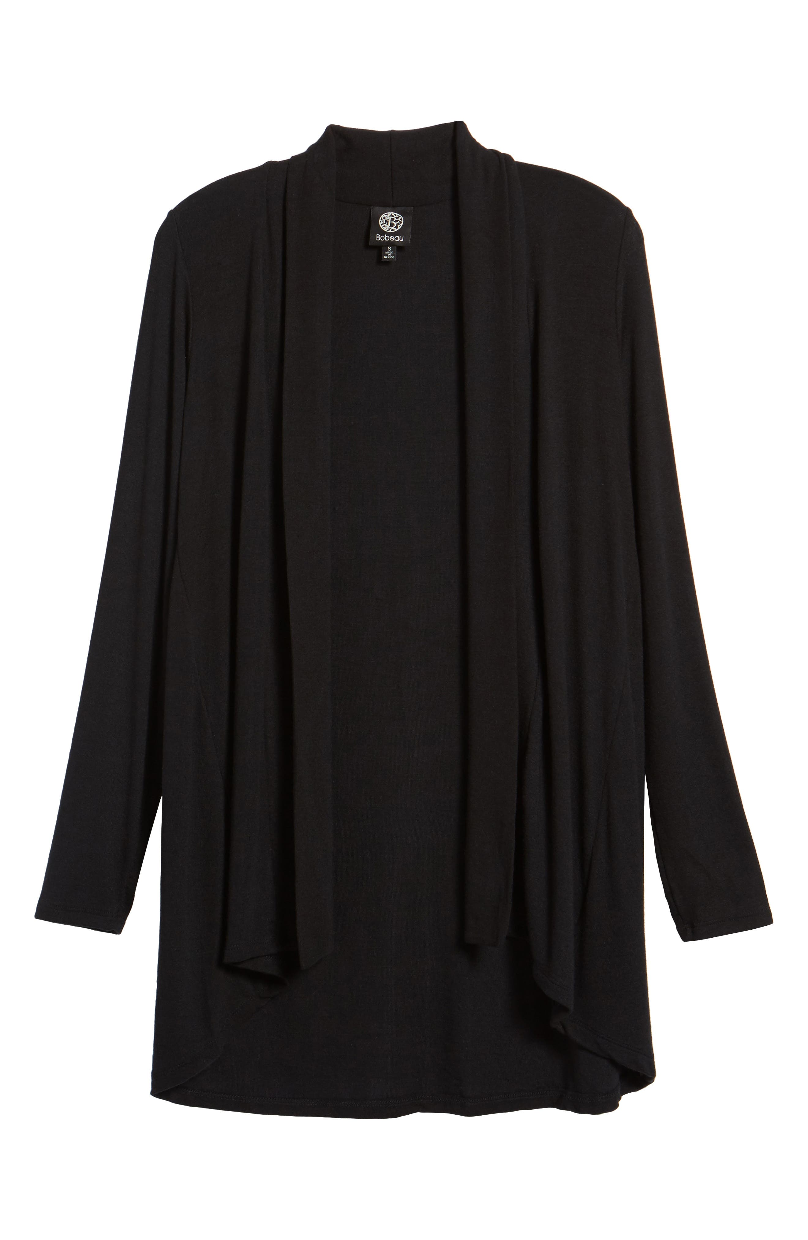 High/Low Jersey Cardigan,                             Alternate thumbnail 2, color,                             BLACK