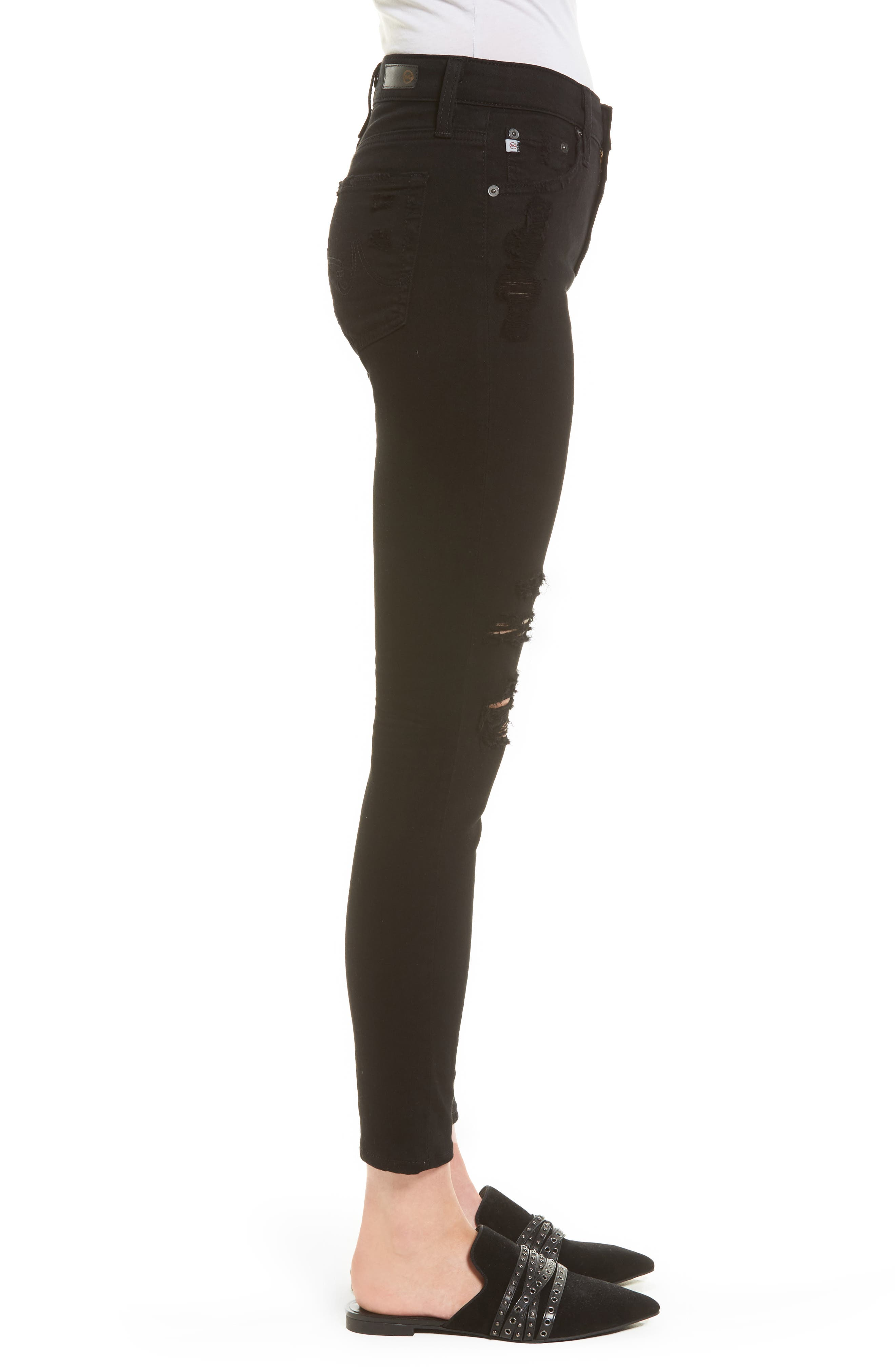 The Farrah High Waist Ankle Skinny Faux Leather Pants,                             Alternate thumbnail 3, color,                             015
