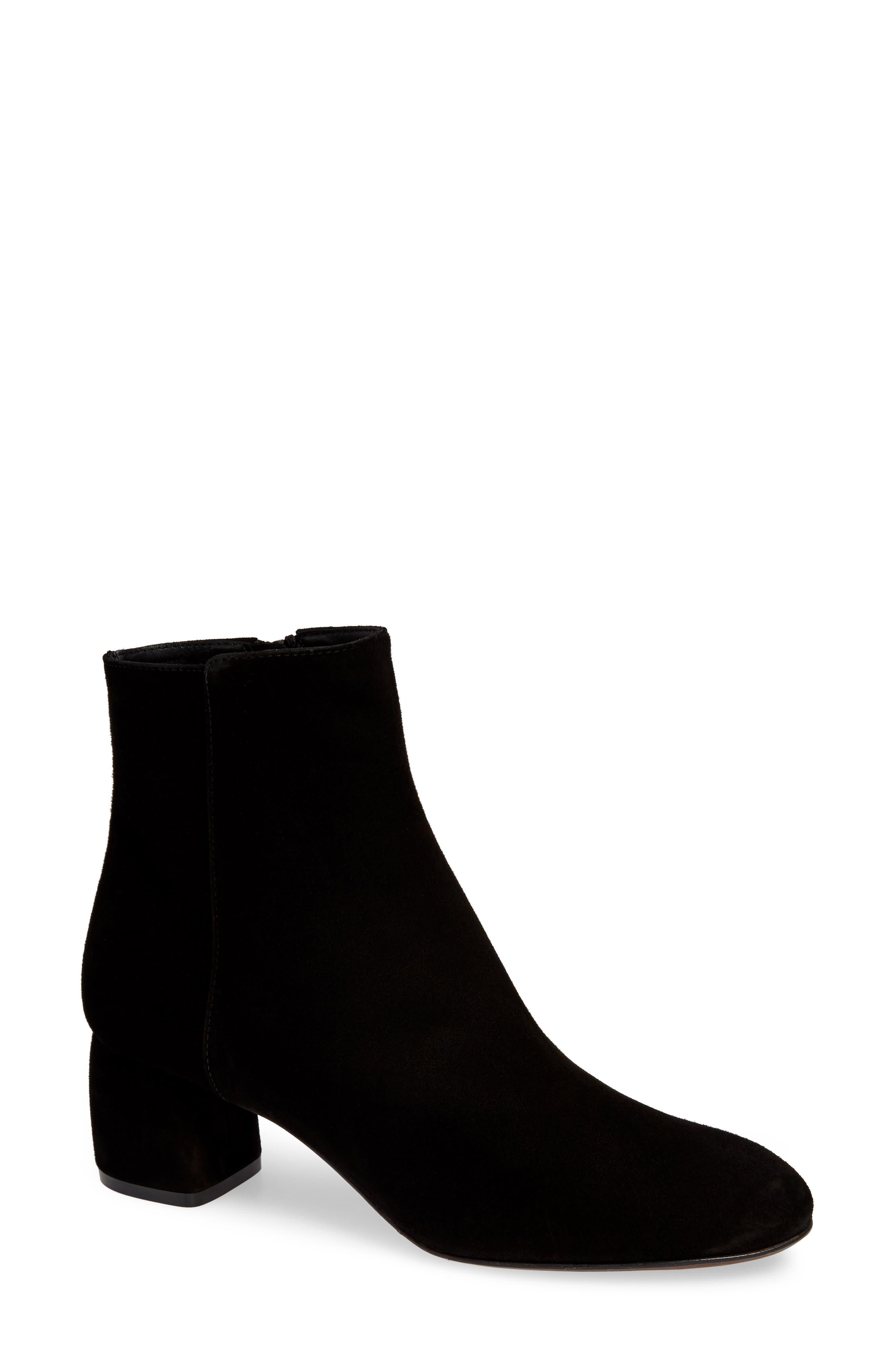 Block Heel Bootie, Main, color, BLACK SUEDE