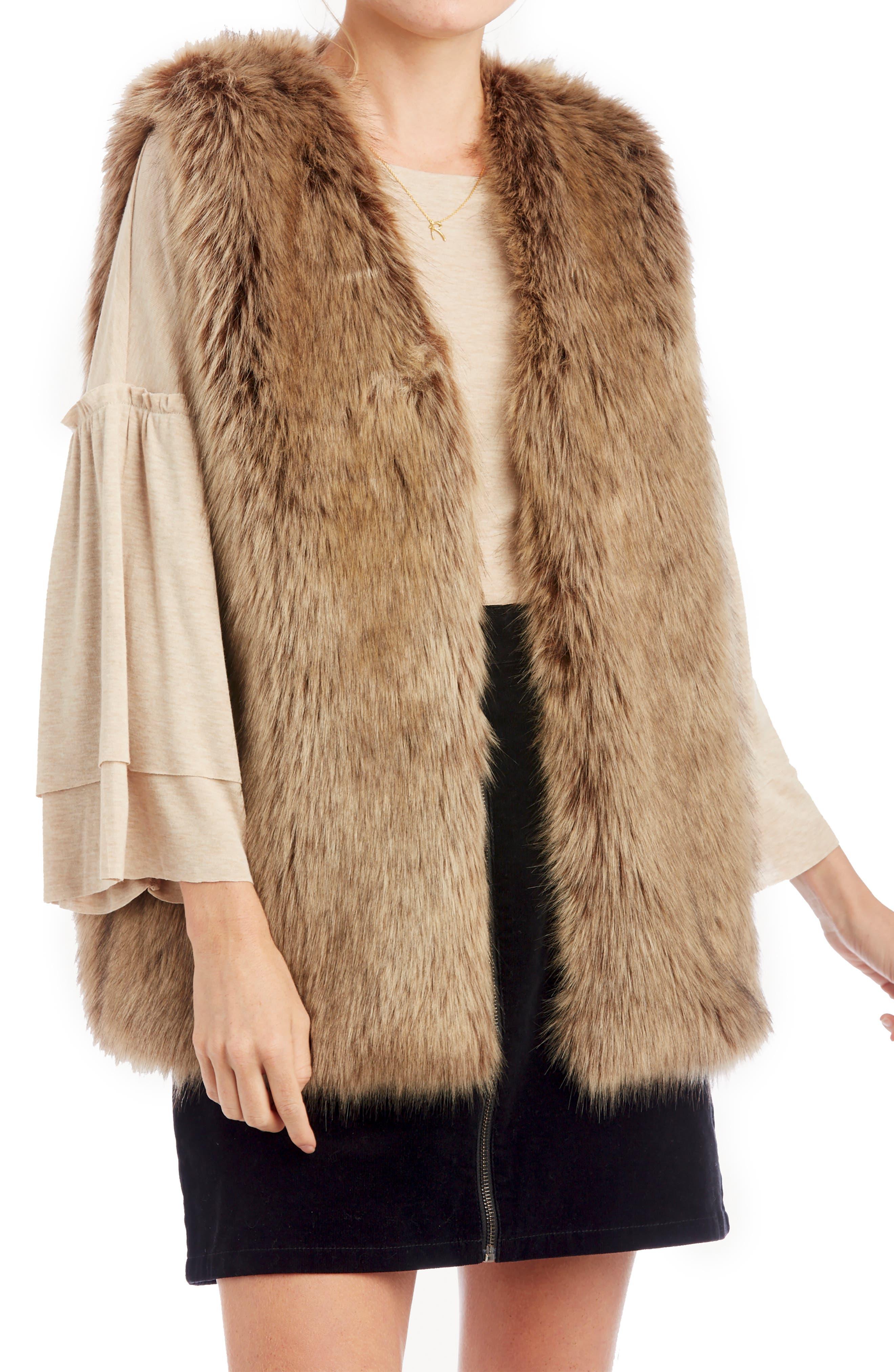 Faux Fur Vest, Main, color, LIGHT BROWN