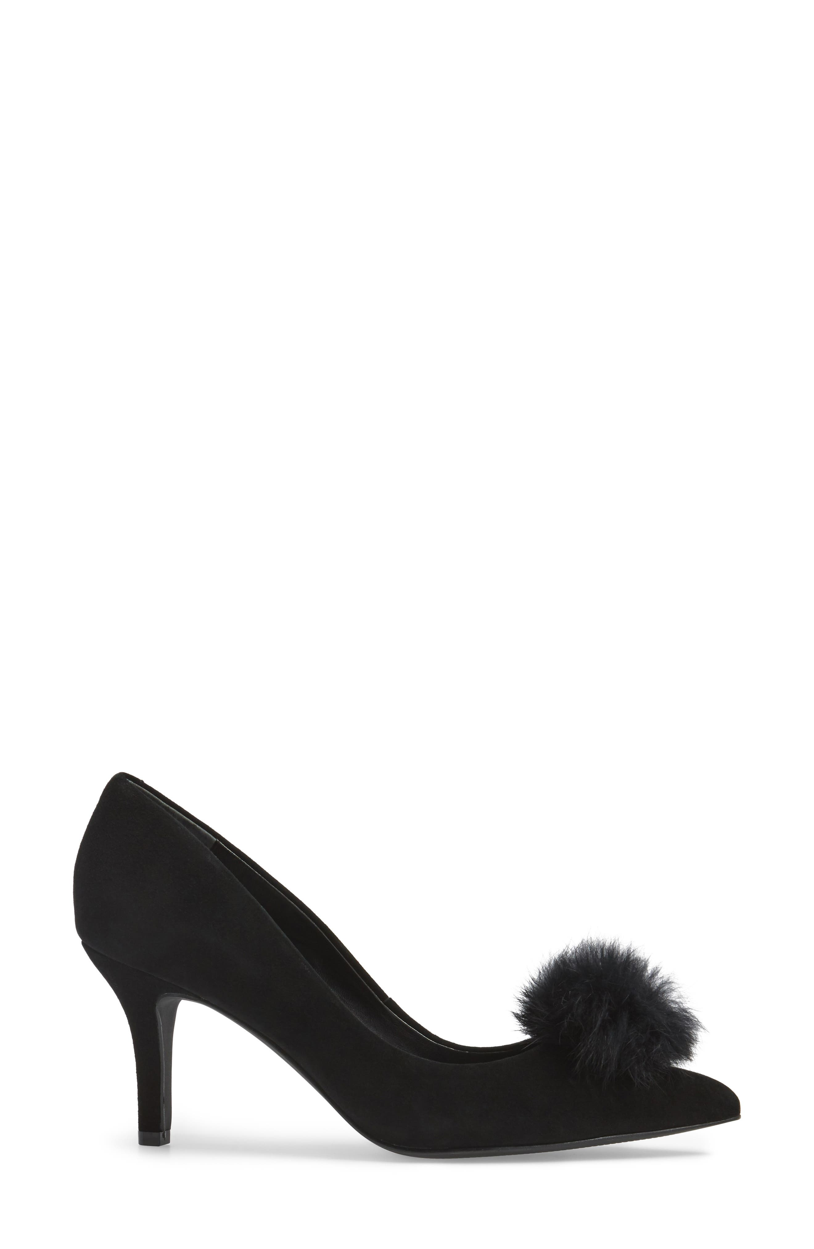 Sadie Genuine Rabbit Fur Pom Pump,                             Alternate thumbnail 3, color,                             001