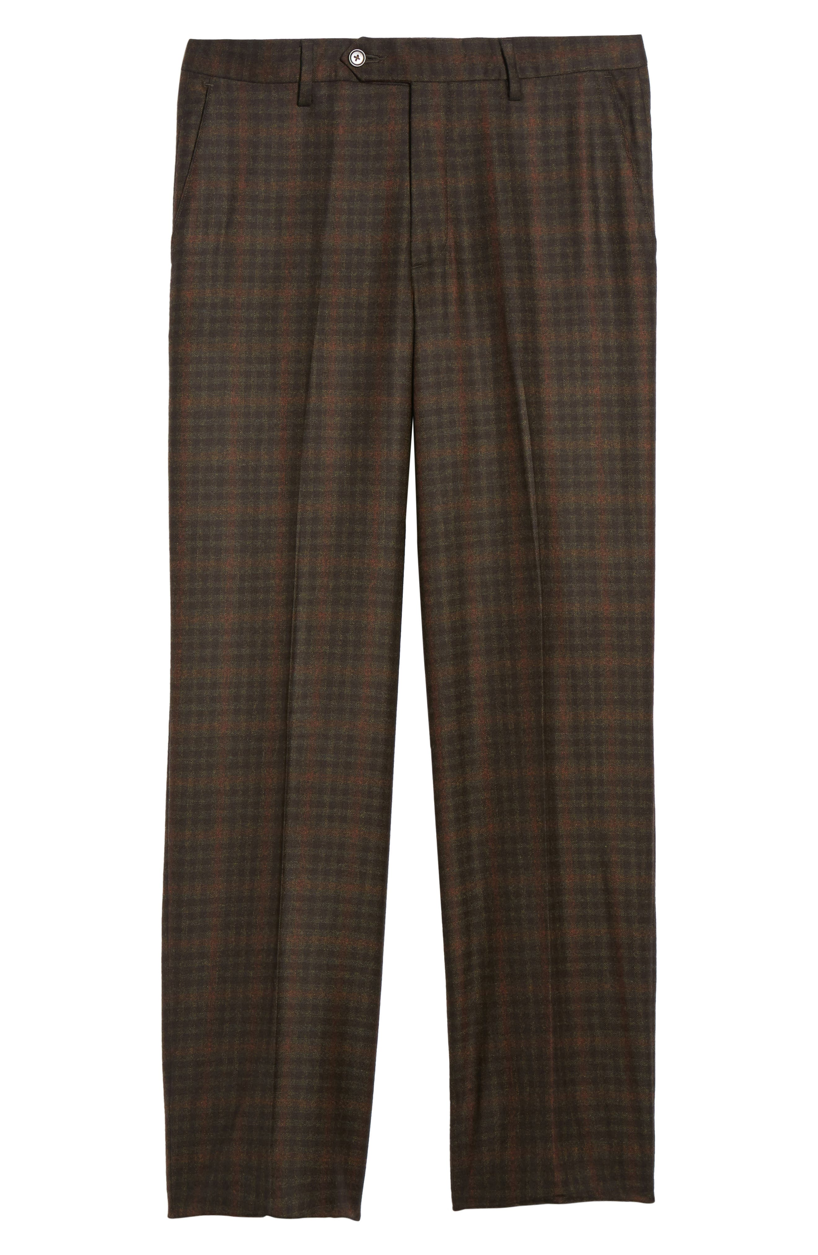 Flat Front Plaid Wool Trousers,                             Alternate thumbnail 6, color,                             200