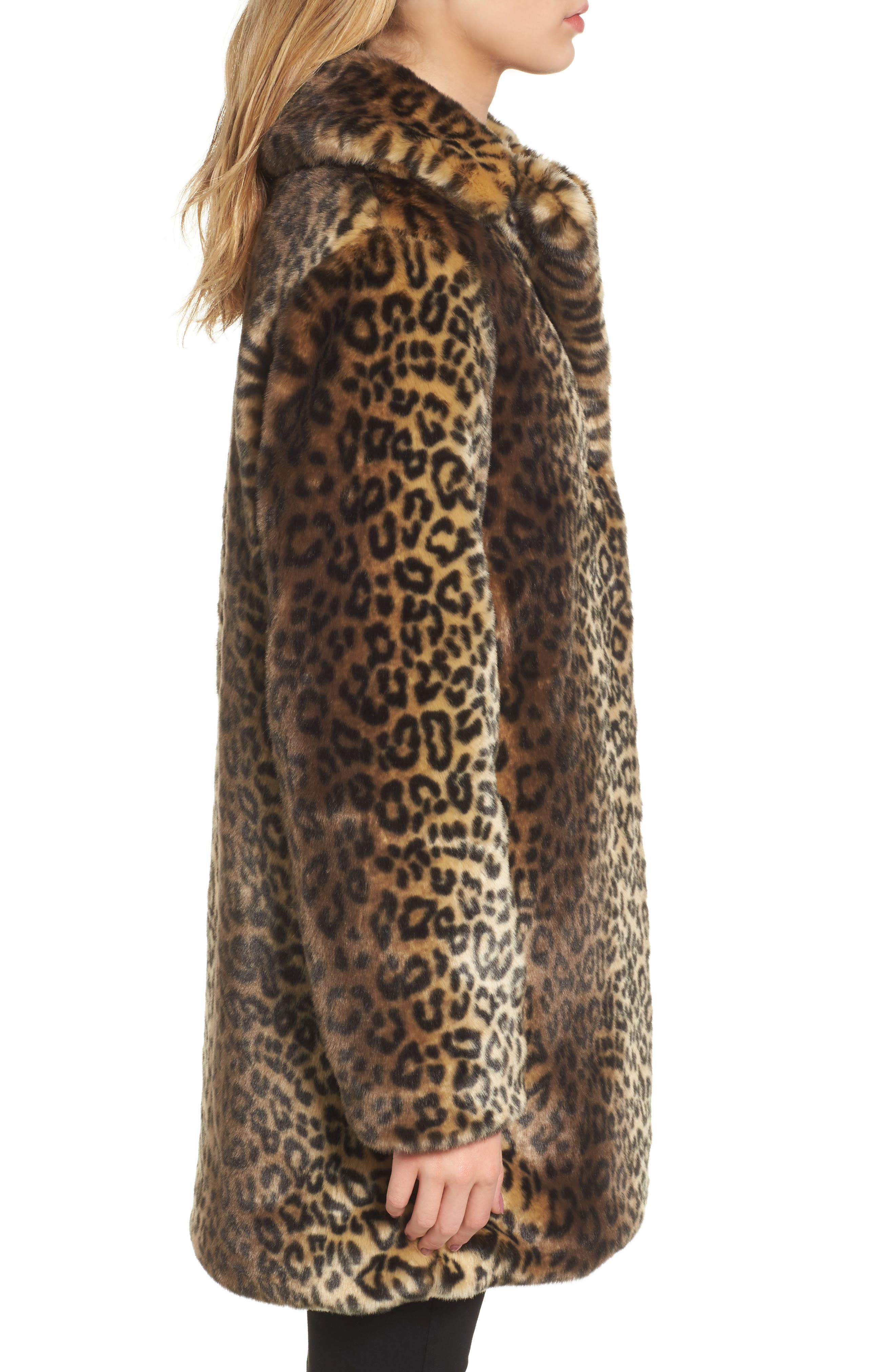 Reversible Cheetah Print Faux Fur Jacket,                             Alternate thumbnail 3, color,                             254