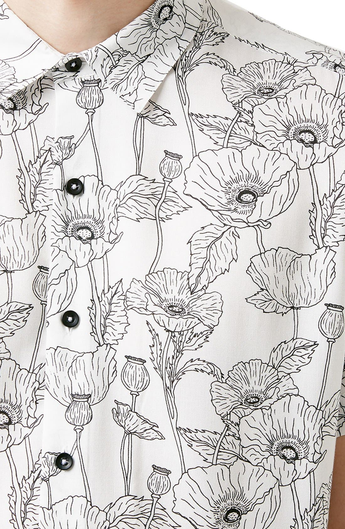 Slim Fit Short Sleeve Poppy Print Shirt,                             Alternate thumbnail 4, color,                             100