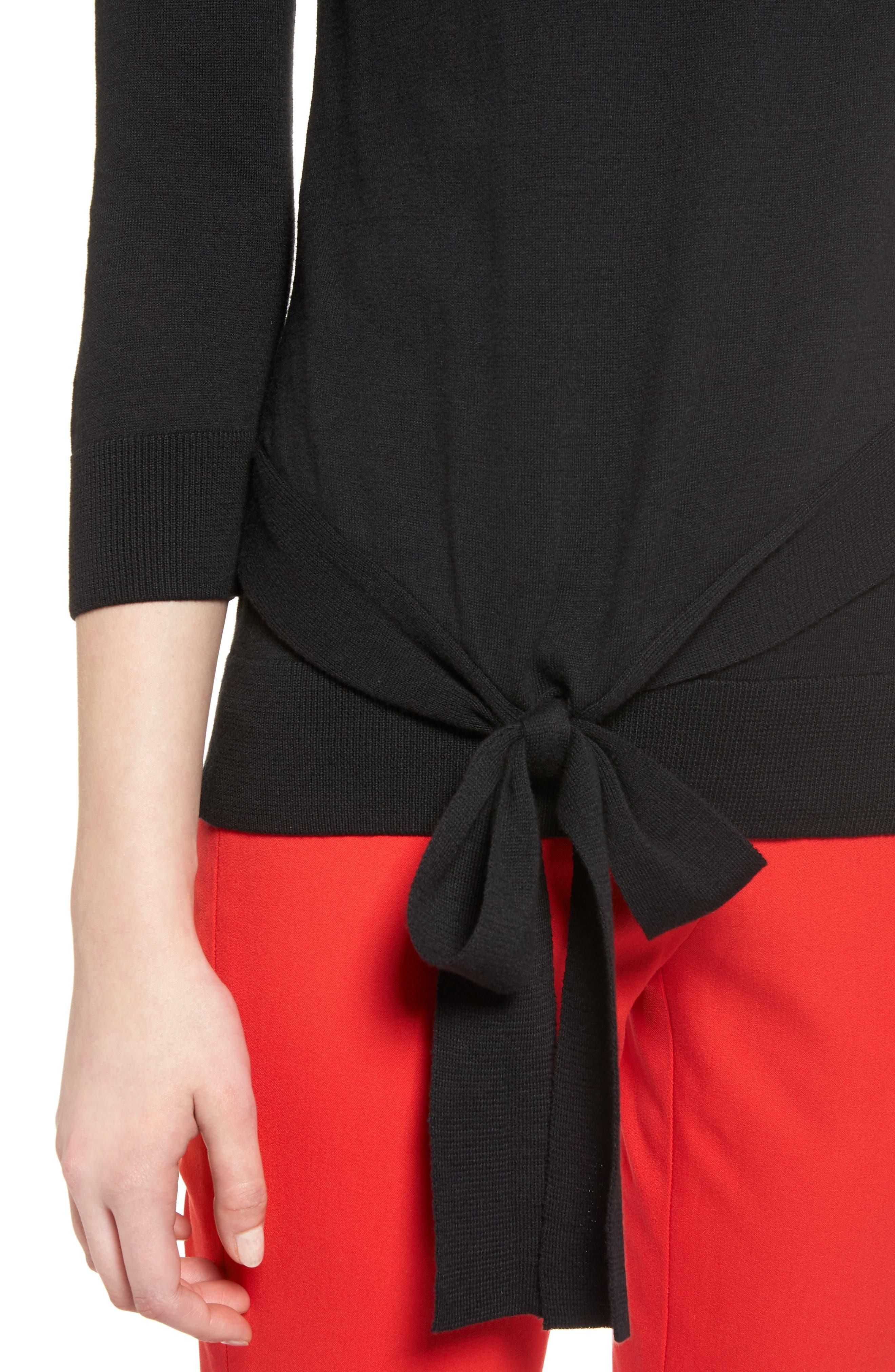 Pima Cotton Blend Tie Sweater,                             Alternate thumbnail 4, color,                             001