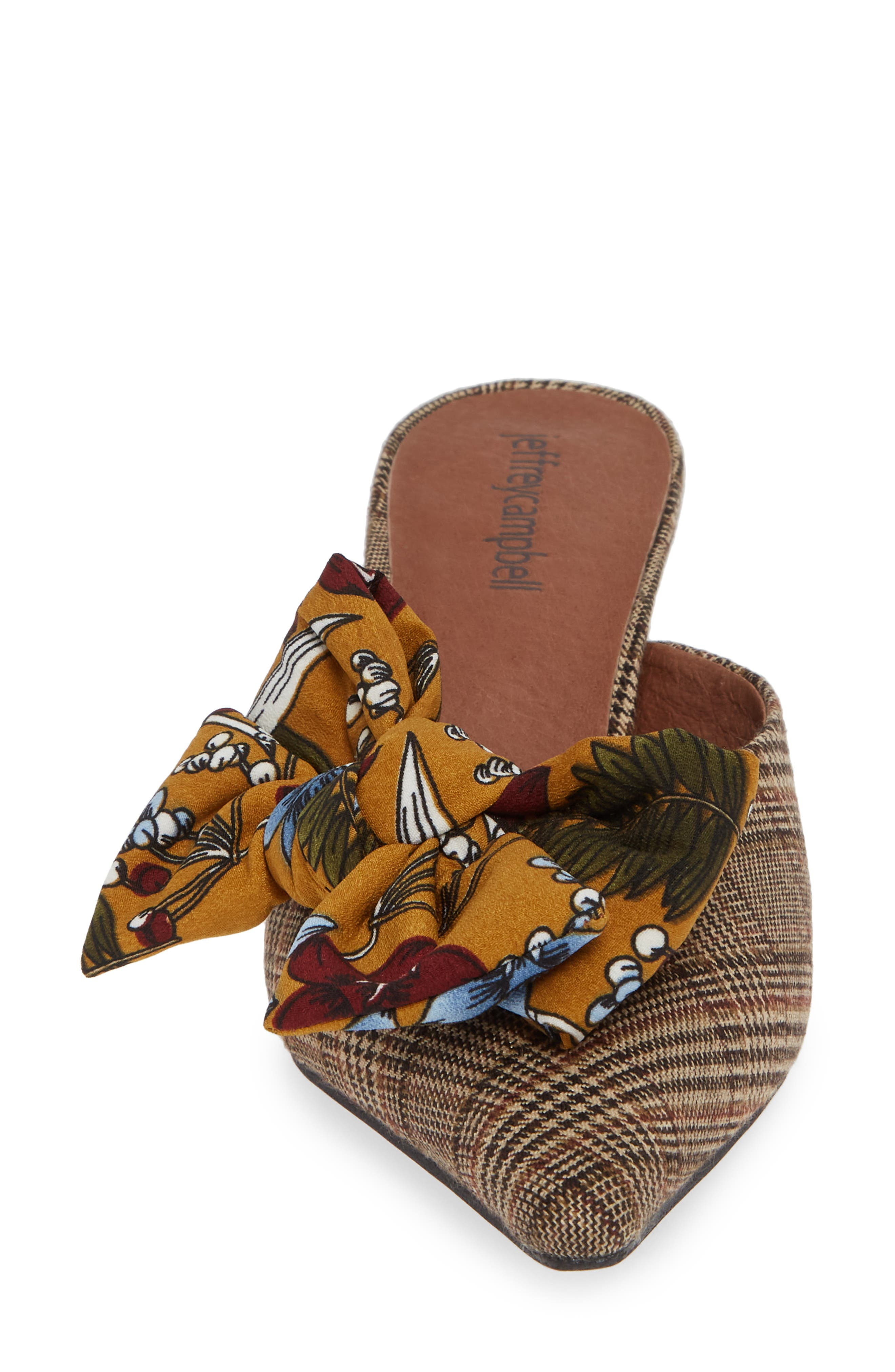 Adorn Pointy Toe Mule,                             Alternate thumbnail 4, color,                             MUSTARD/ NAVY FLORAL MULTI