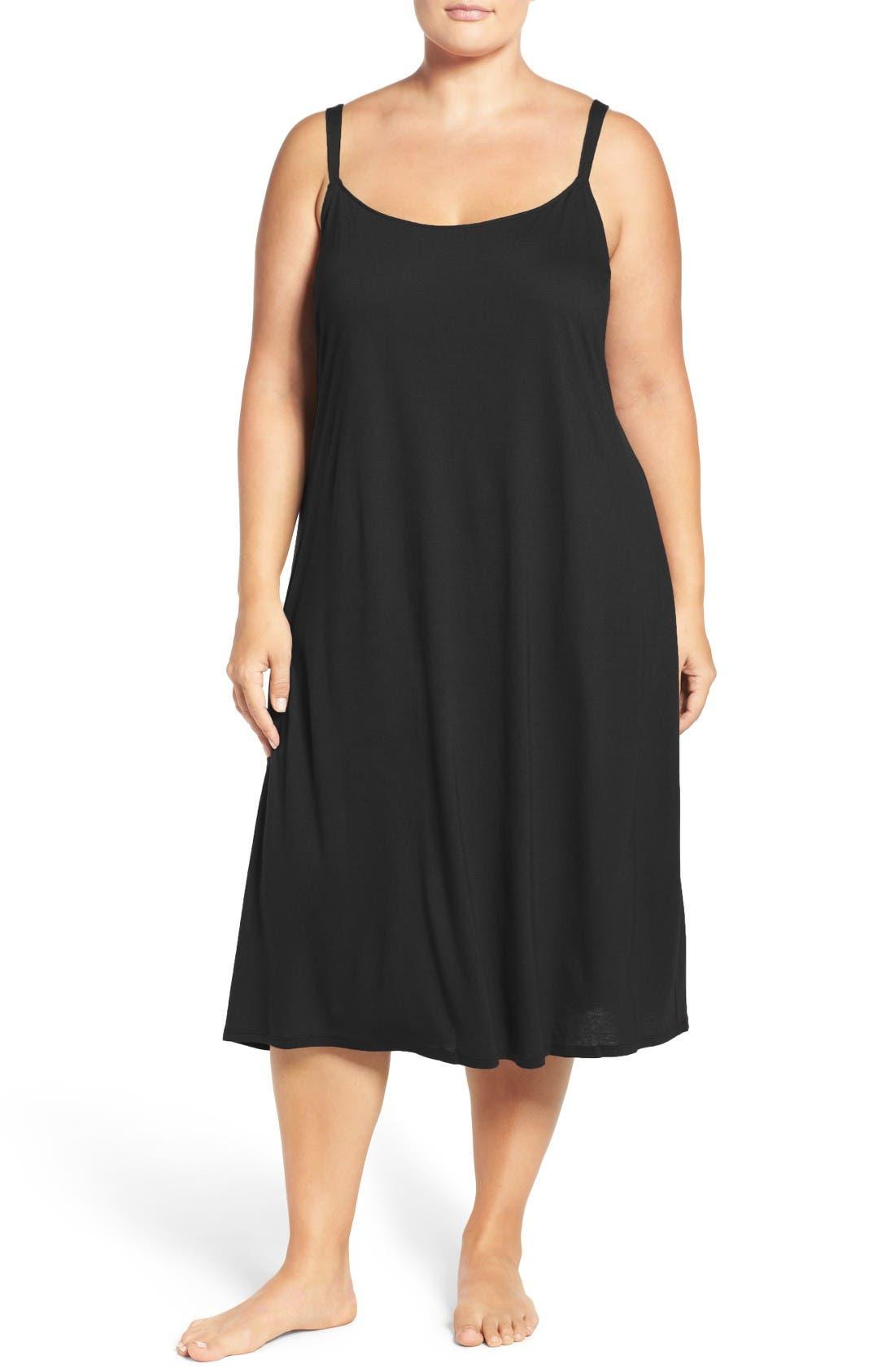 'Shangri La' Nightgown, Main, color, BLACK