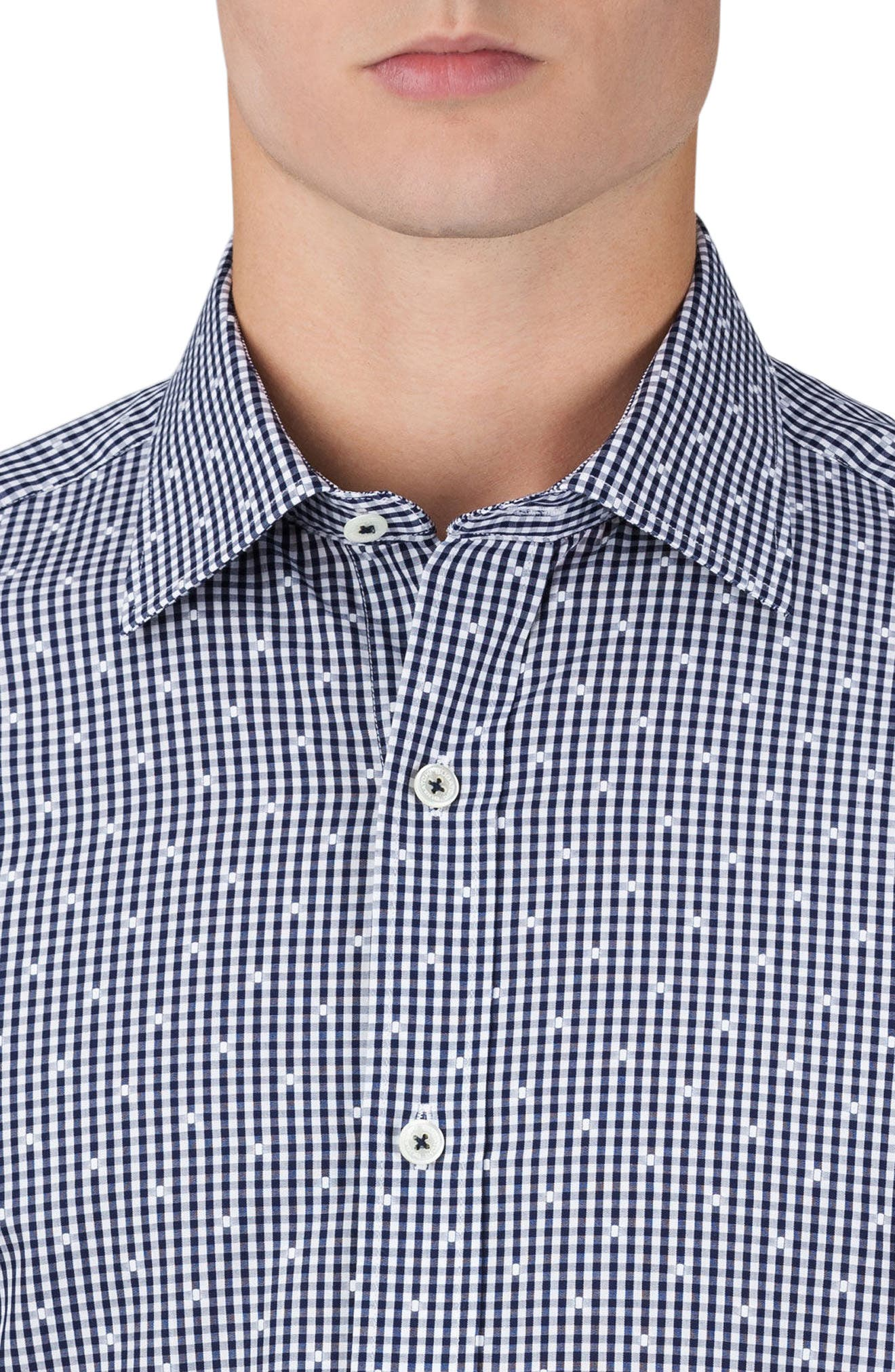 Shaped Fit Check Sport Shirt,                             Alternate thumbnail 3, color,                             410