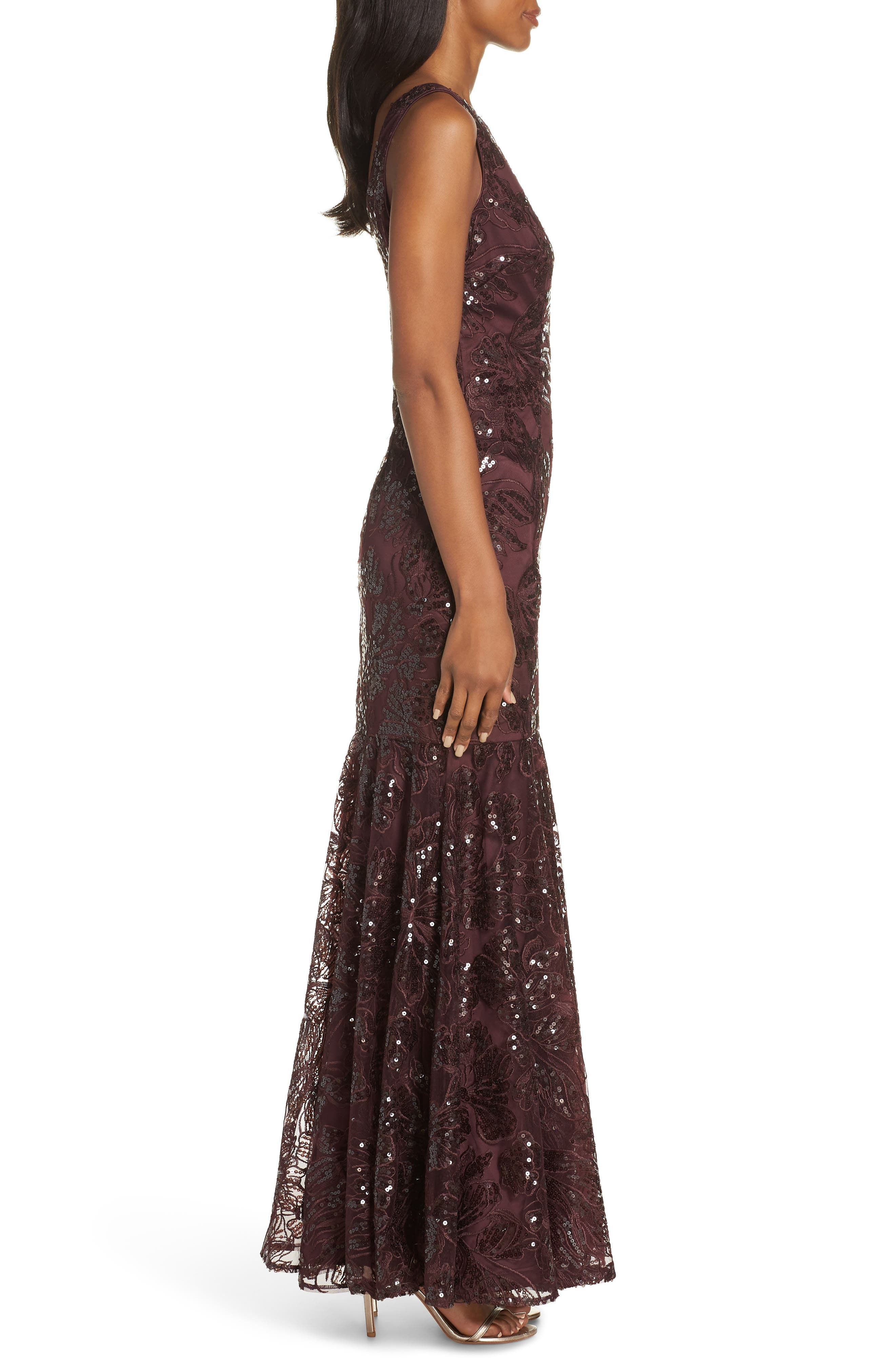Embroidered Sequin Gown,                             Alternate thumbnail 3, color,                             BURGUNDY