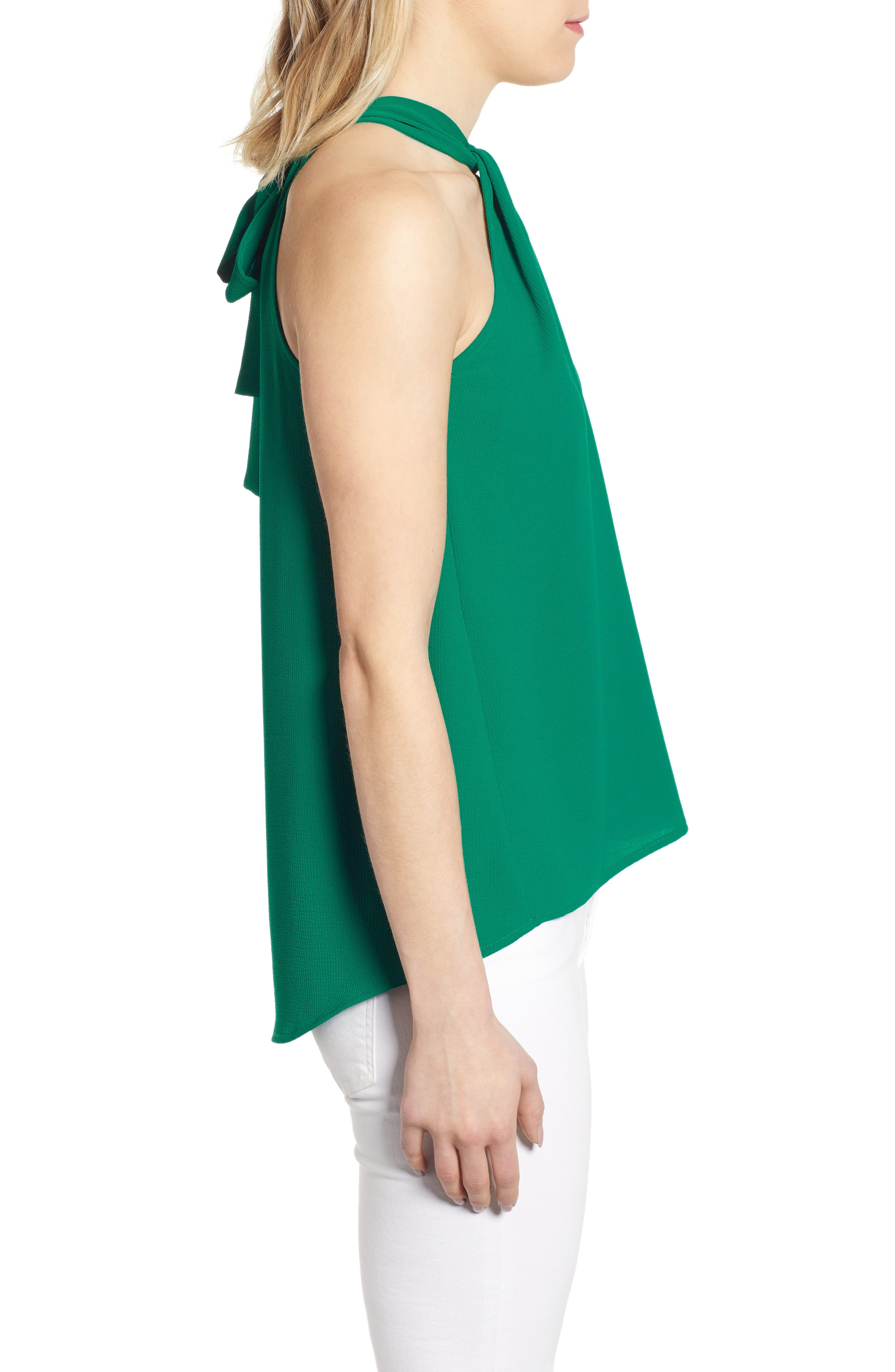 GIBSON,                             x International Women's Day Chelsea Halter Neck Date Top,                             Alternate thumbnail 3, color,                             GREEN