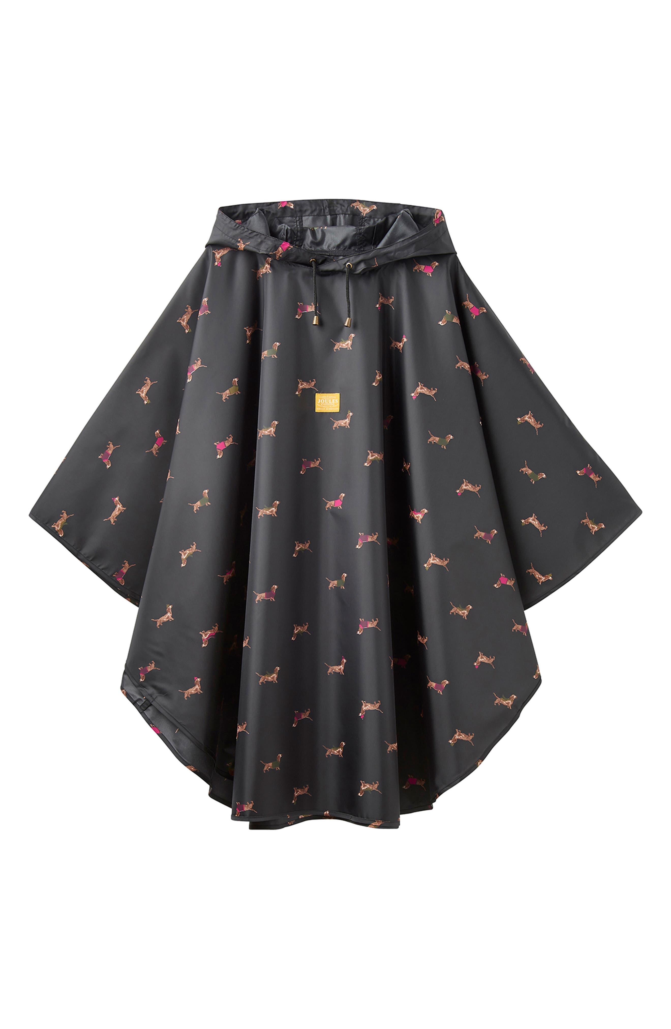 Right as Rain Print Packable Hooded Poncho,                             Alternate thumbnail 2, color,                             BLACK DACHSHUND