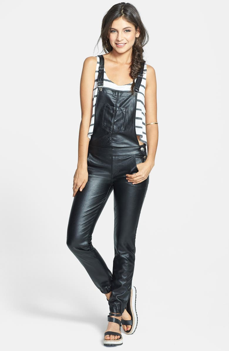 62a1b3688b3 SP Black Faux Leather Overalls (Juniors) (Online Only)