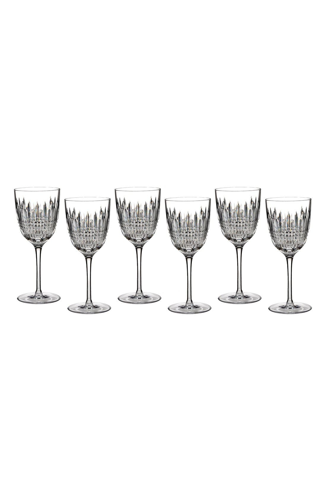 'Lismore Diamond' Lead Crystal Goblets,                             Main thumbnail 1, color,                             100