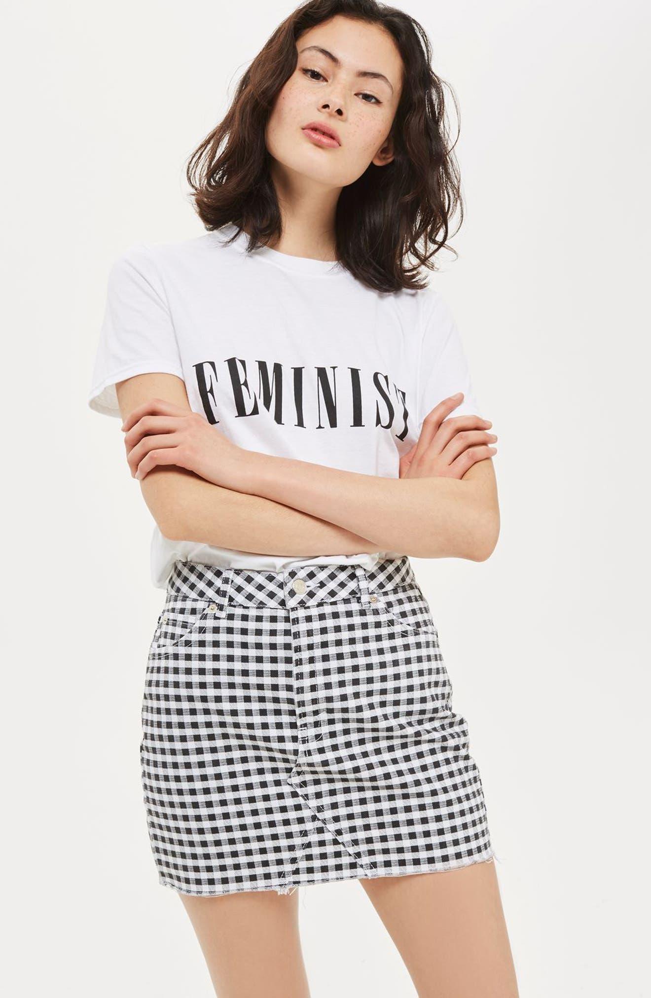 Gingham Miniskirt,                             Alternate thumbnail 3, color,                             001