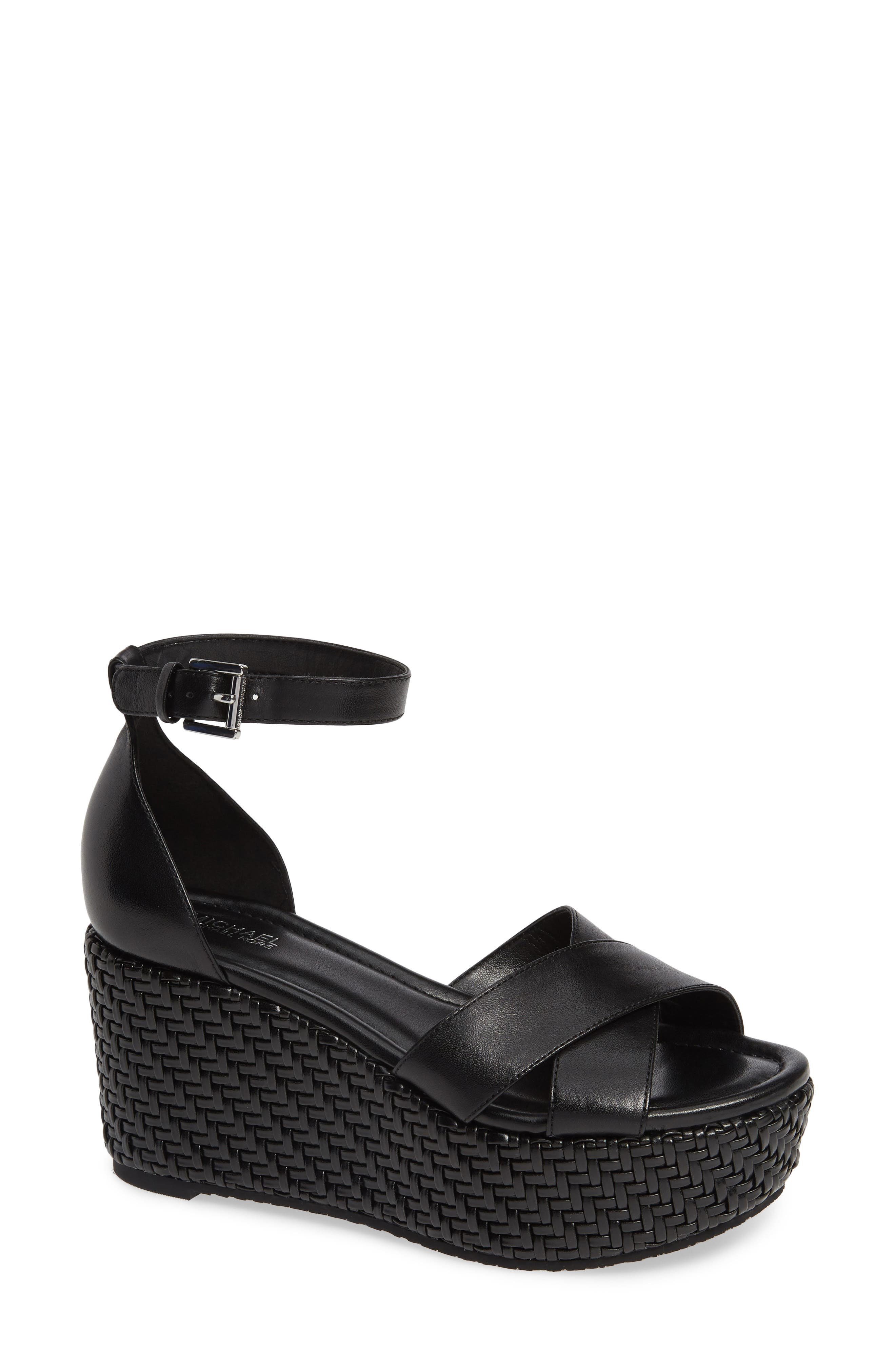 Desiree Woven Wedge Sandals in Black Vachetta Leather